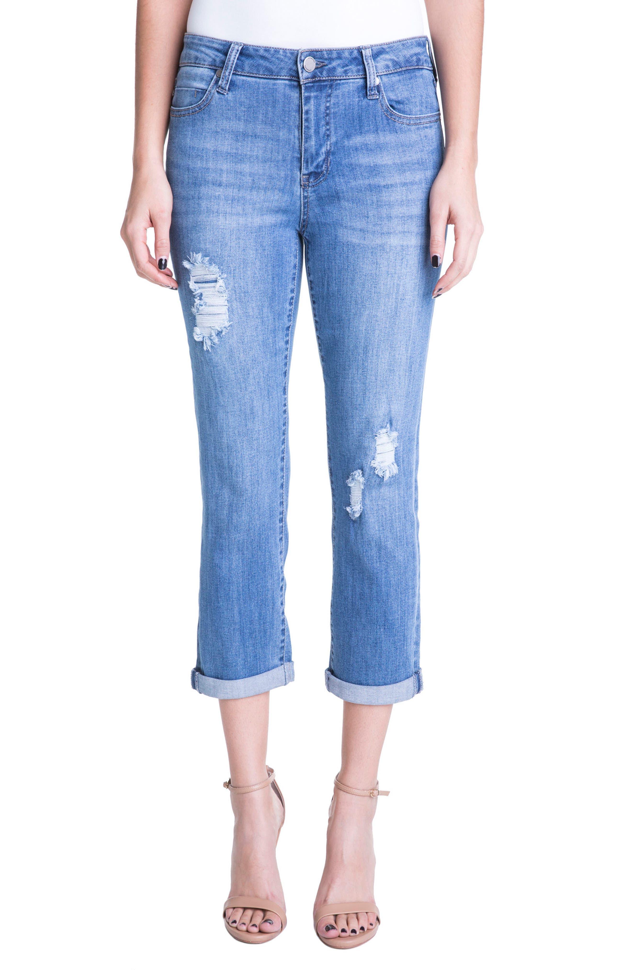 Liverpool Jeans Company Michelle Distressed Cuff Capri Jeans (Melbourne Light Destruction)