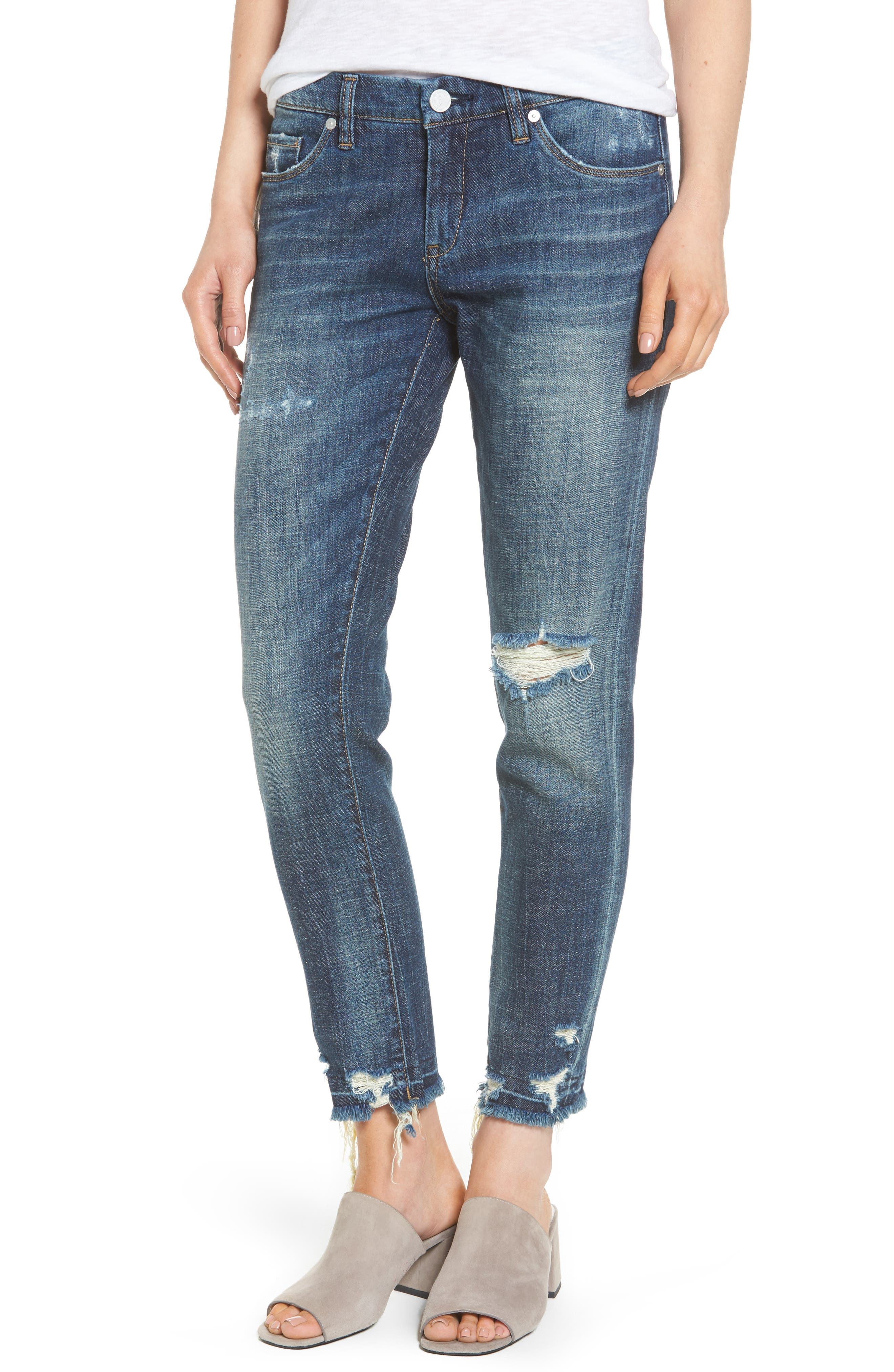 Alternate Image 1 Selected - BLANKNYC Ripped Girlfriend Jeans (Let It Roll)