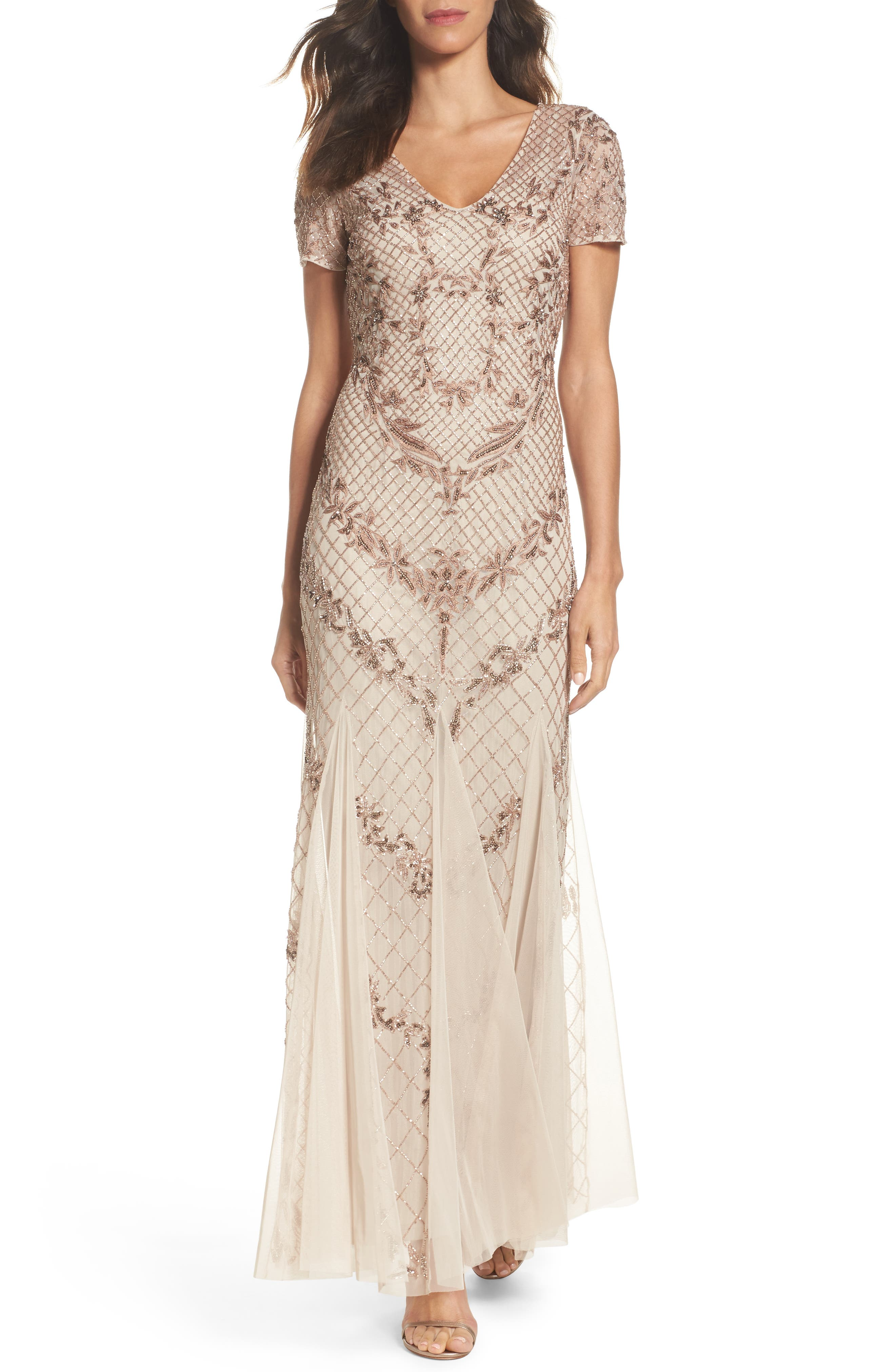 Adrianna Papell Beaded Mesh Mermaid Gown