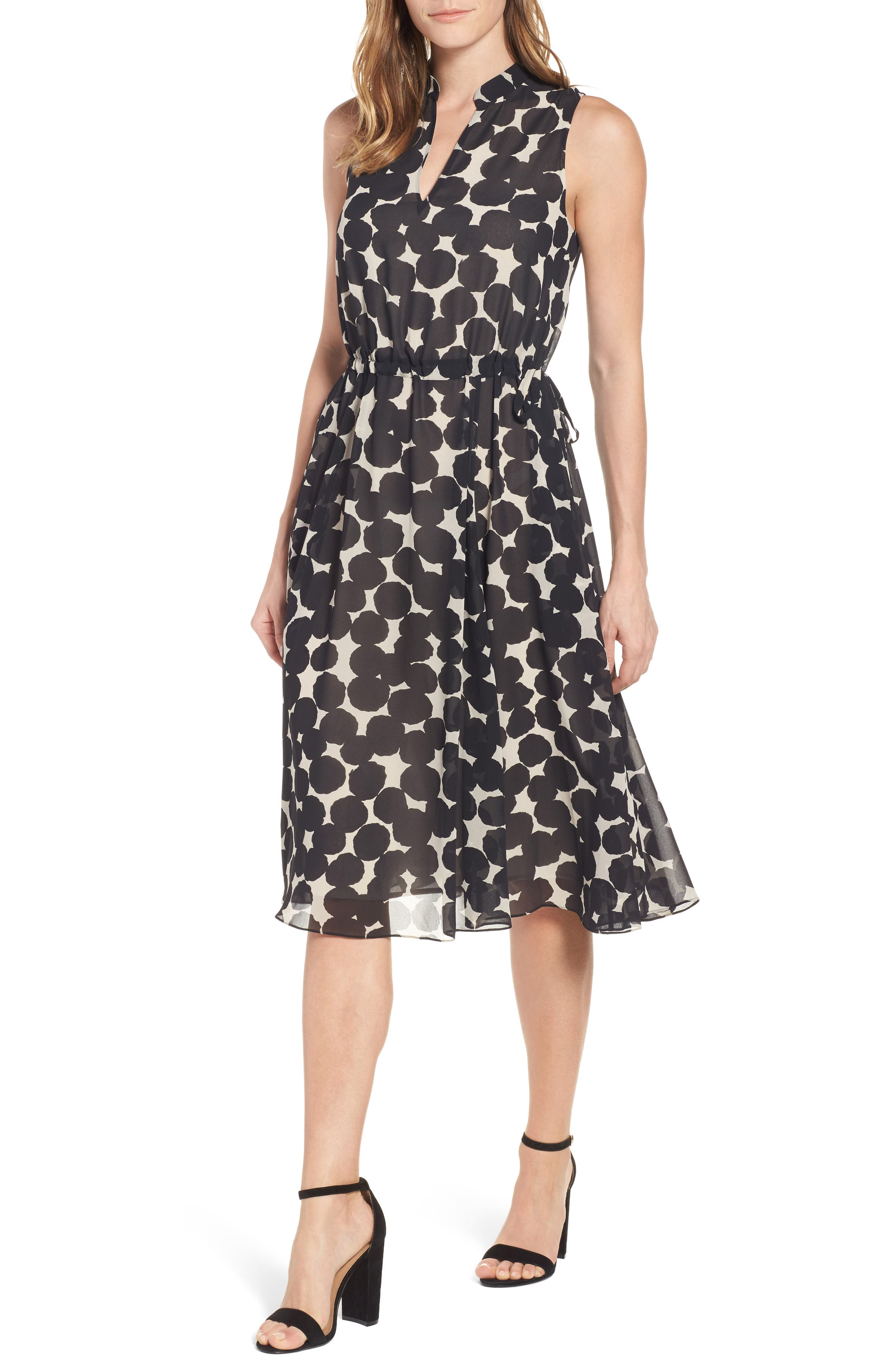 Anne Klein Print Drawstring Midi Dress