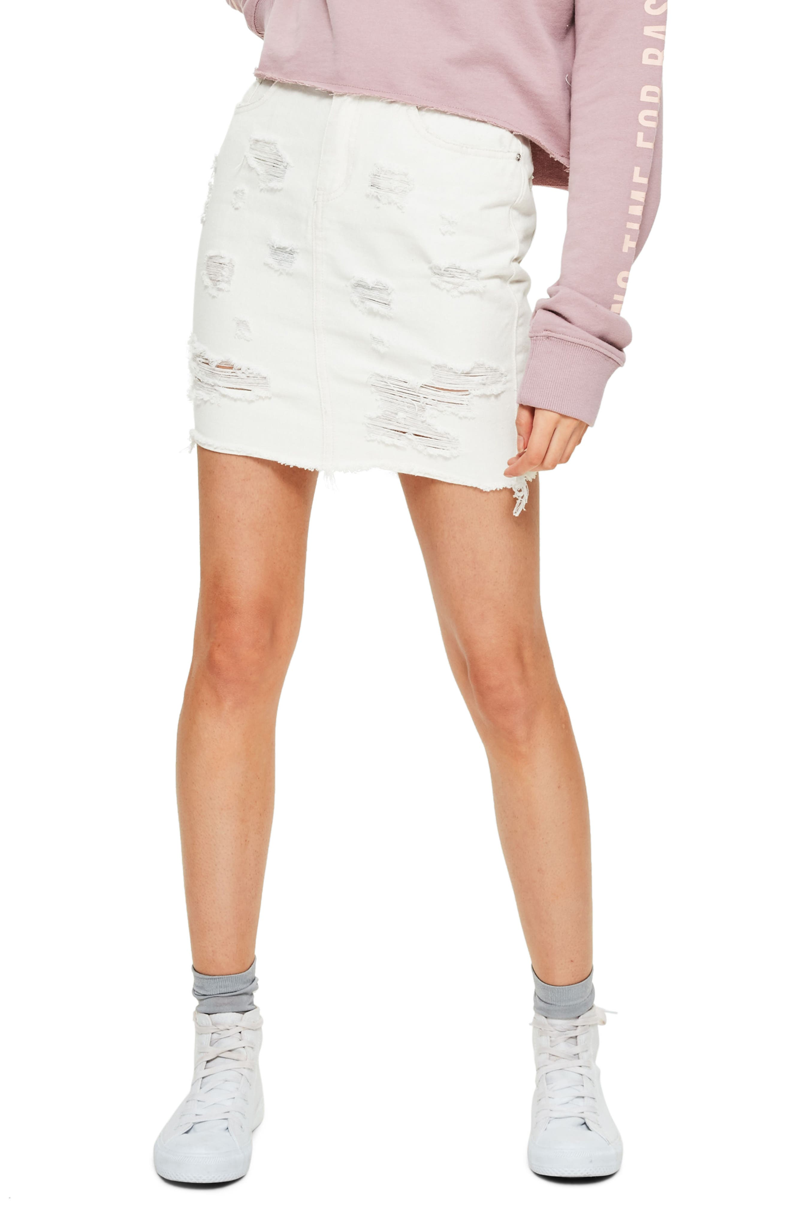 Missguided High Waist Denim Miniskirt