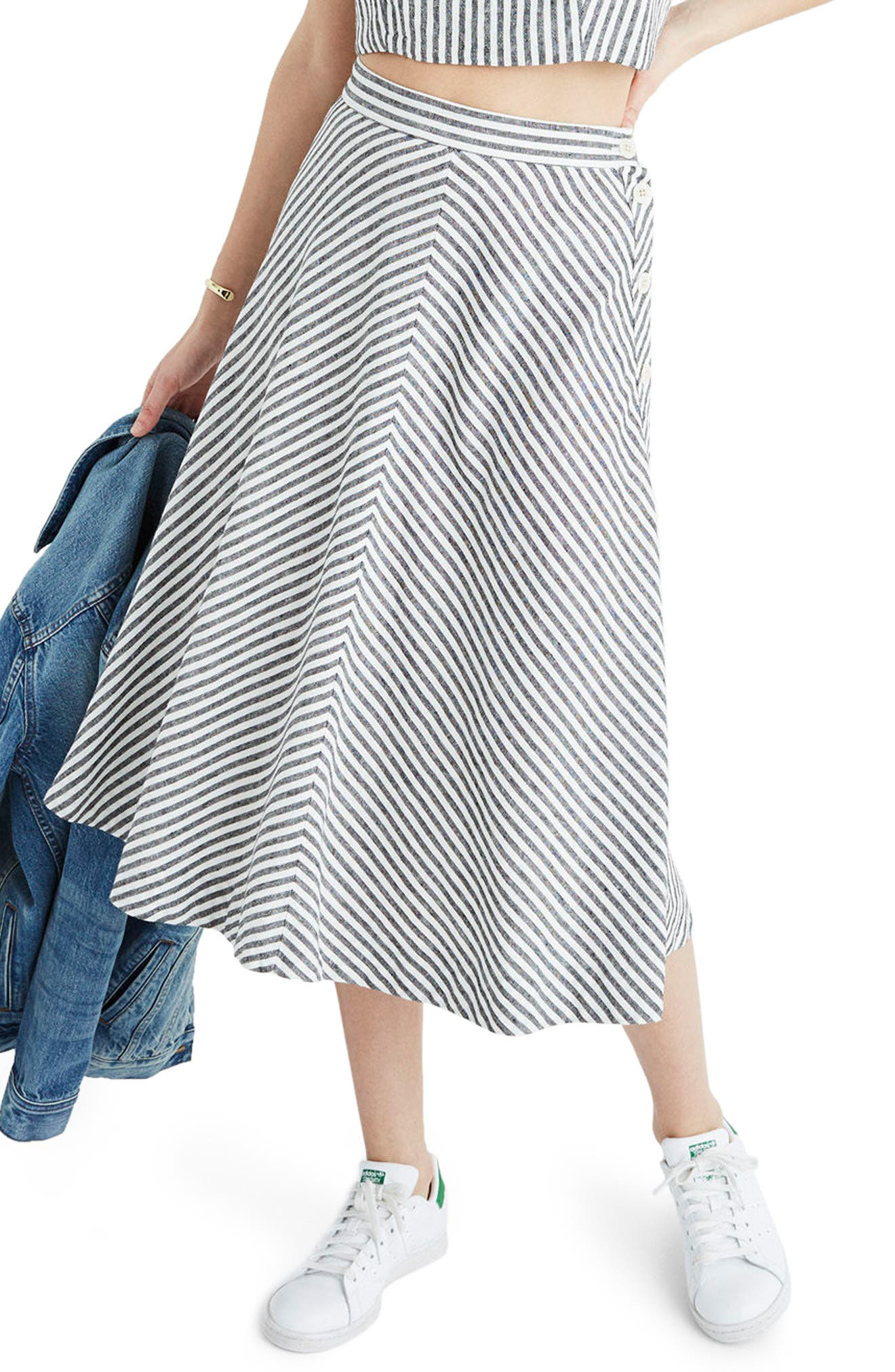 Main Image - Madewell Stripe Side Button Midi Skirt