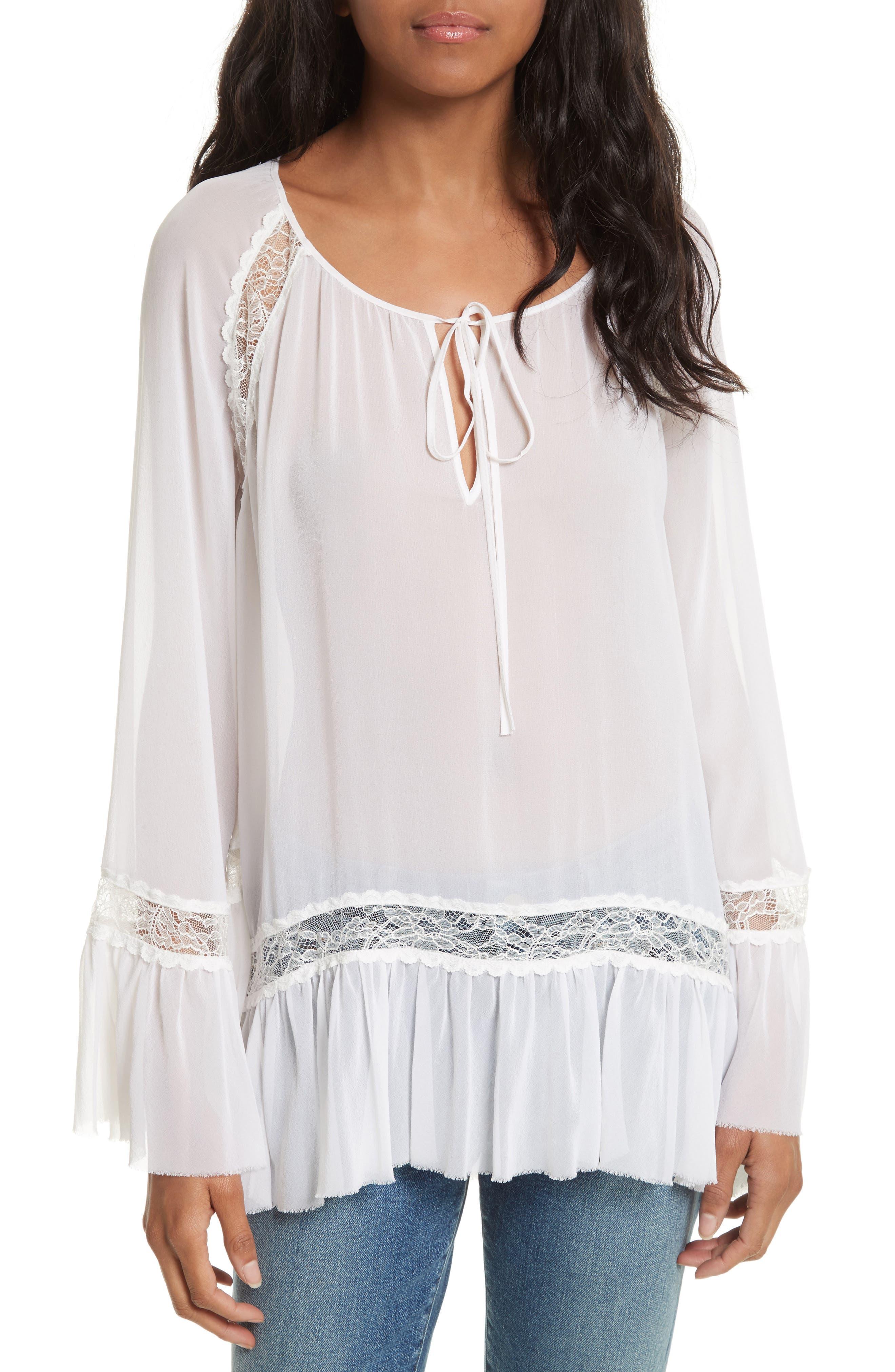 Alice + Olivia Luma Bell Sleeve Silk Tunic