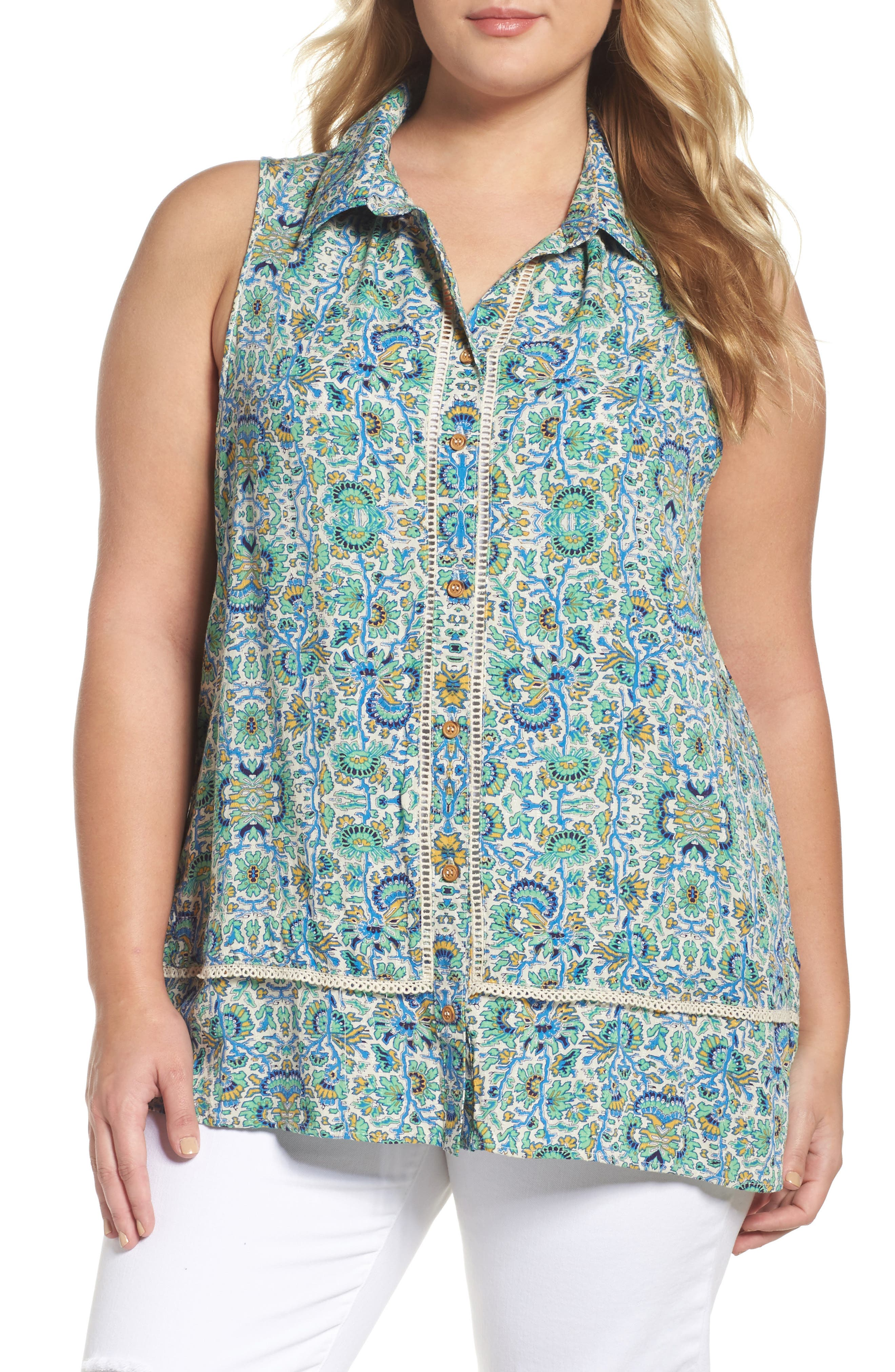 Wit & Wisdom Print Sleeveless Blouse (Plus Size) (Nordstrom Exclusive)