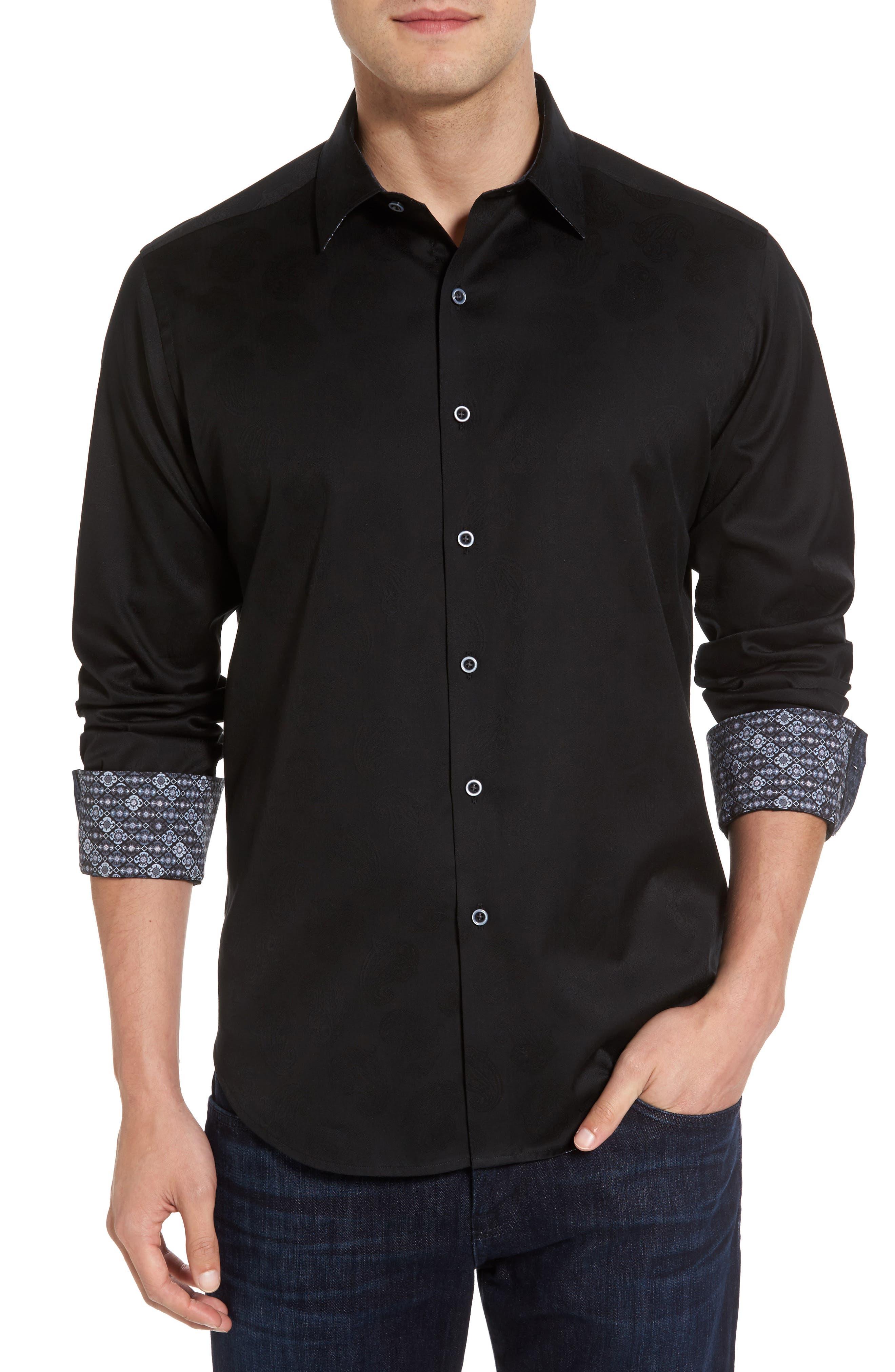 Robert Stack Haystack Regular Fit Jacquard Sport Shirt (Tall)