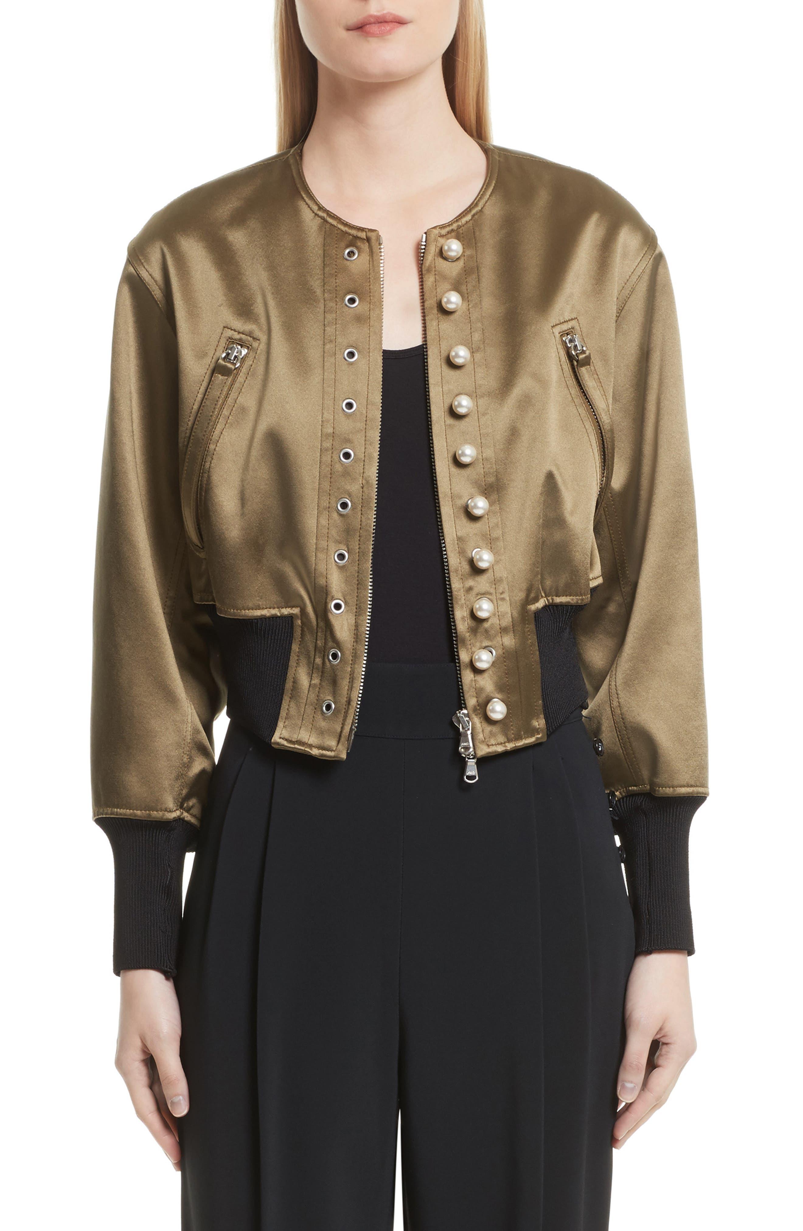 3.1 Phillip Lim Grommet & Faux Pearl Embellished Bomber Jacket