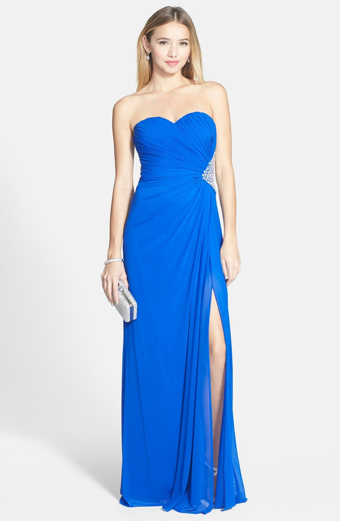 Main Image - Xscape Side Cutout Embellished Strapless Gown