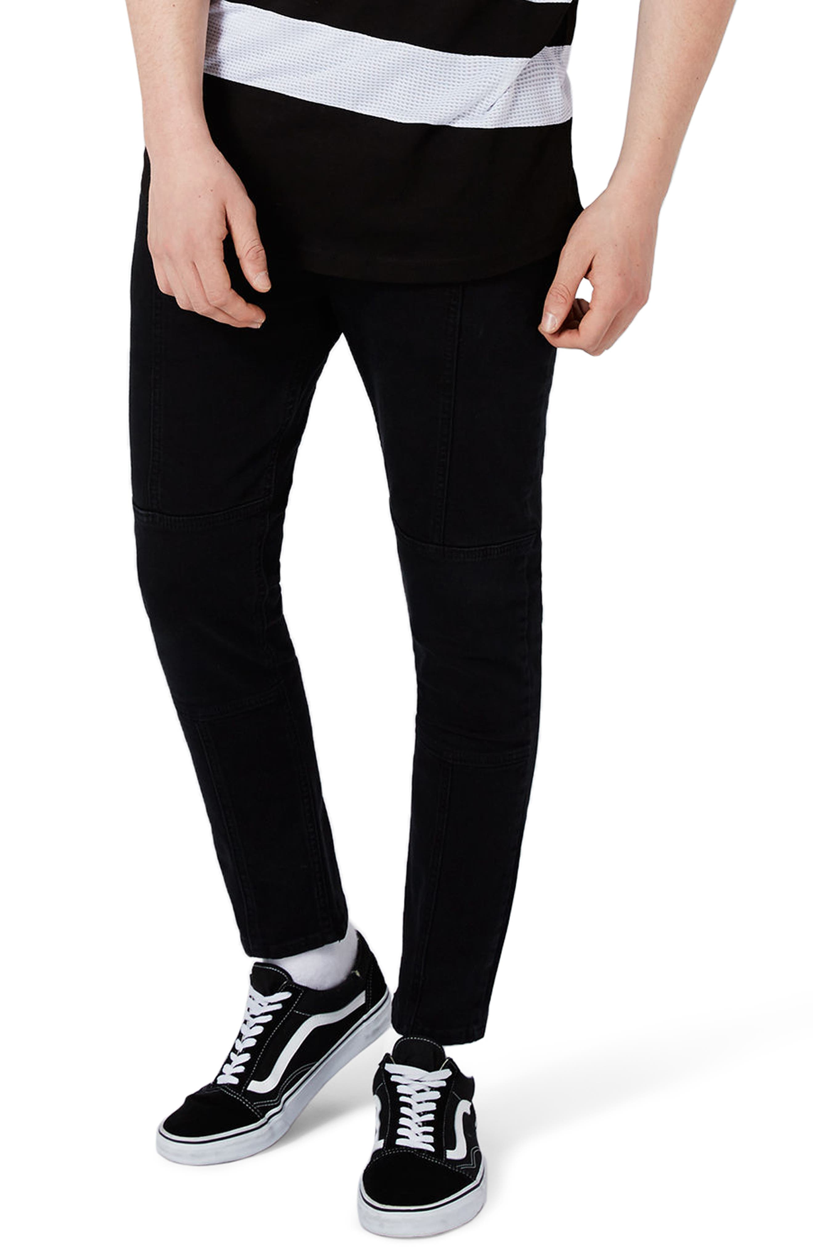 Topman Panel Stretch Skinny Fit Jeans