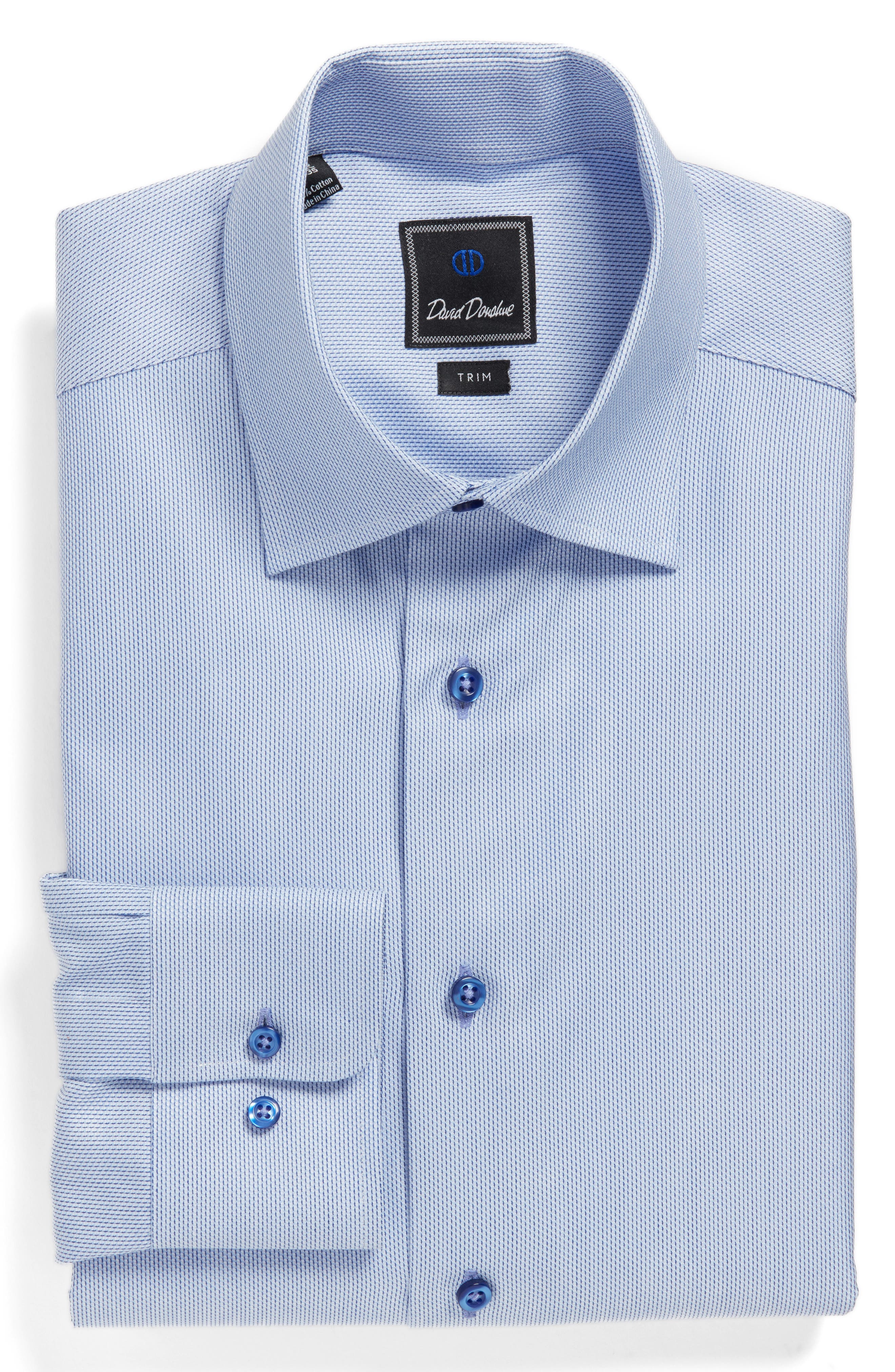 David Donahue Trim Fit Solid Dress Shirt