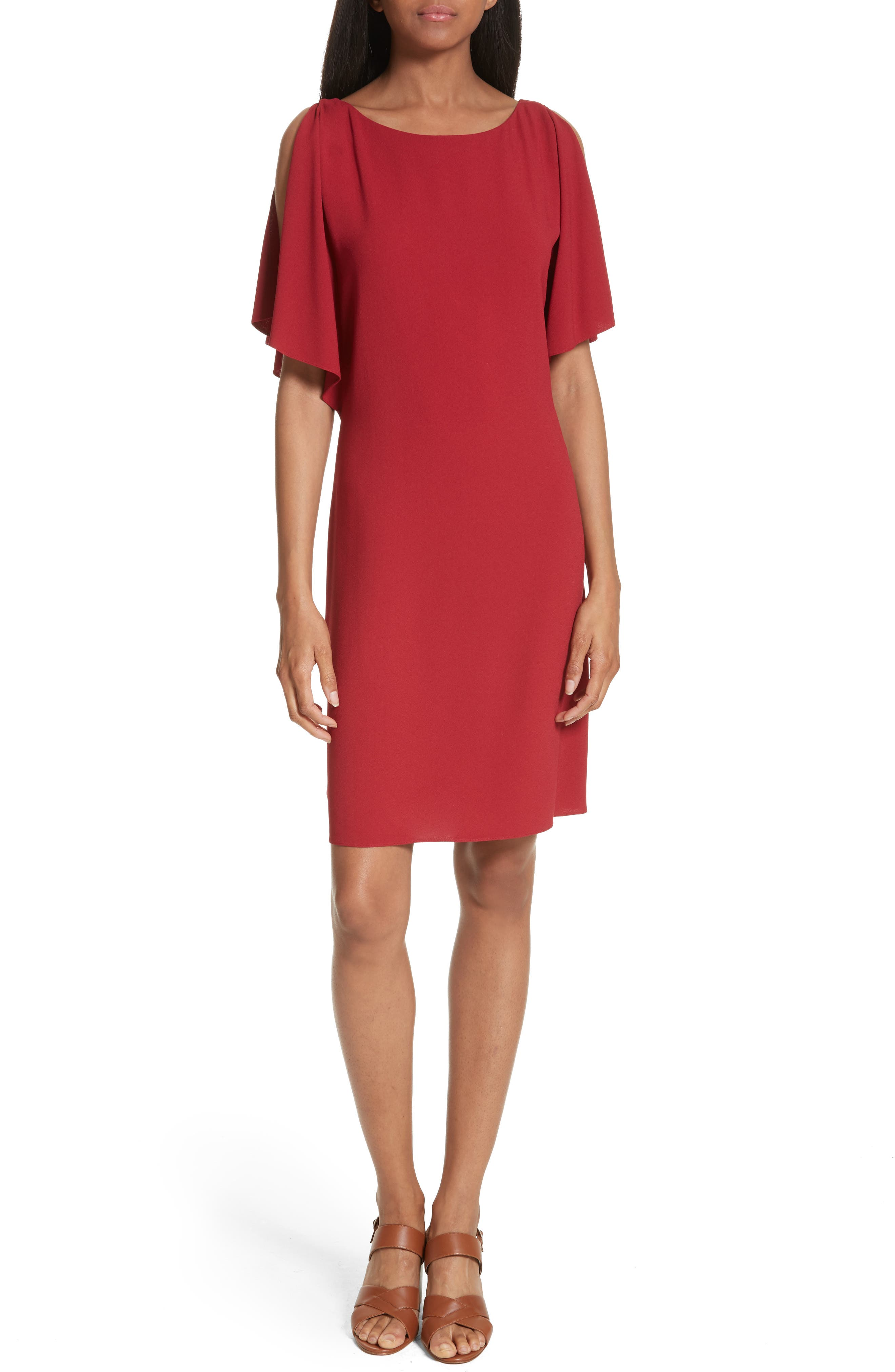 Theory Andzelika Rosina Crepe Slit Sleeve Shift Dress