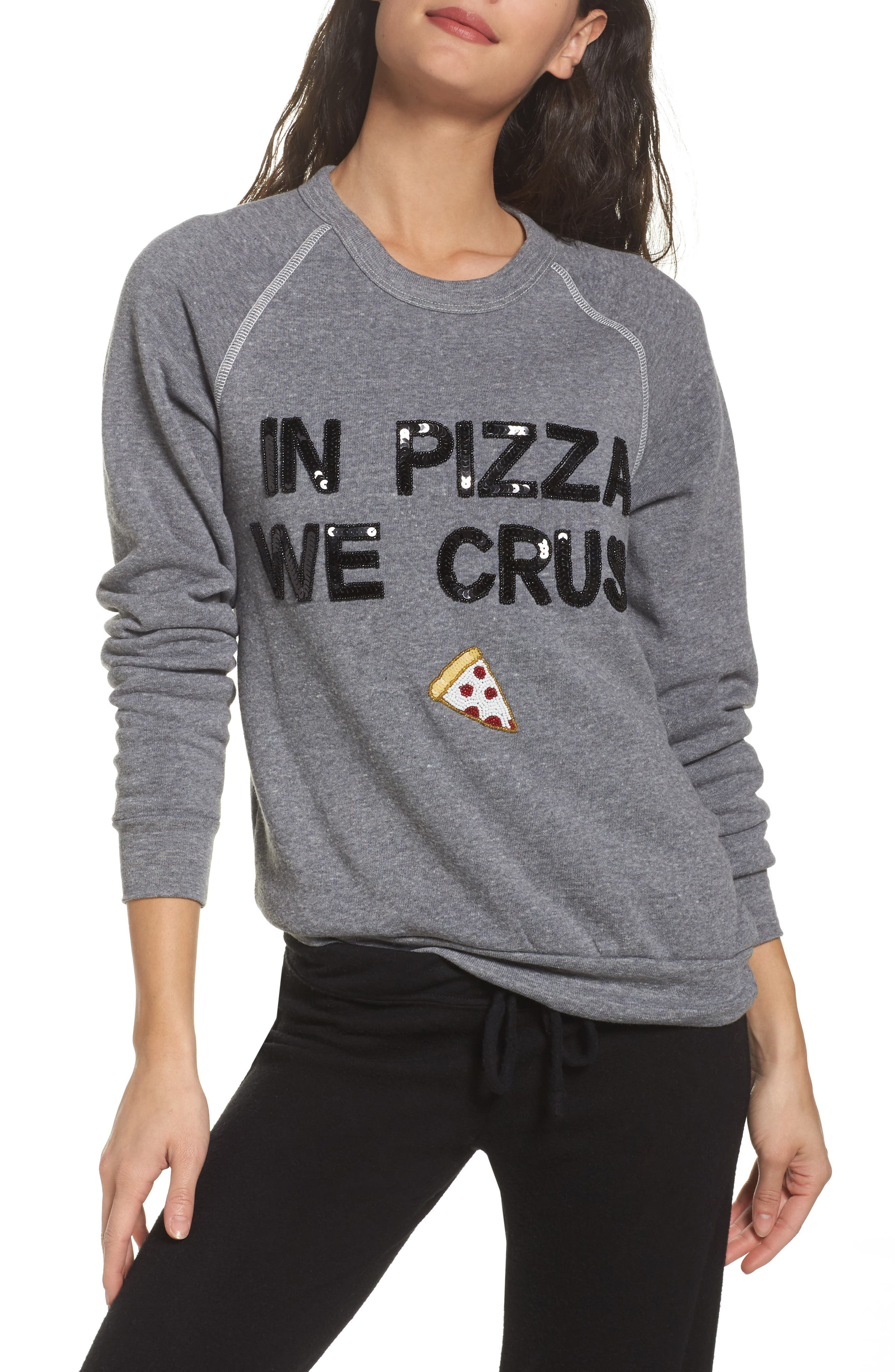 Bow & Drape In Pizza We Crust Lounge Sweatshirt