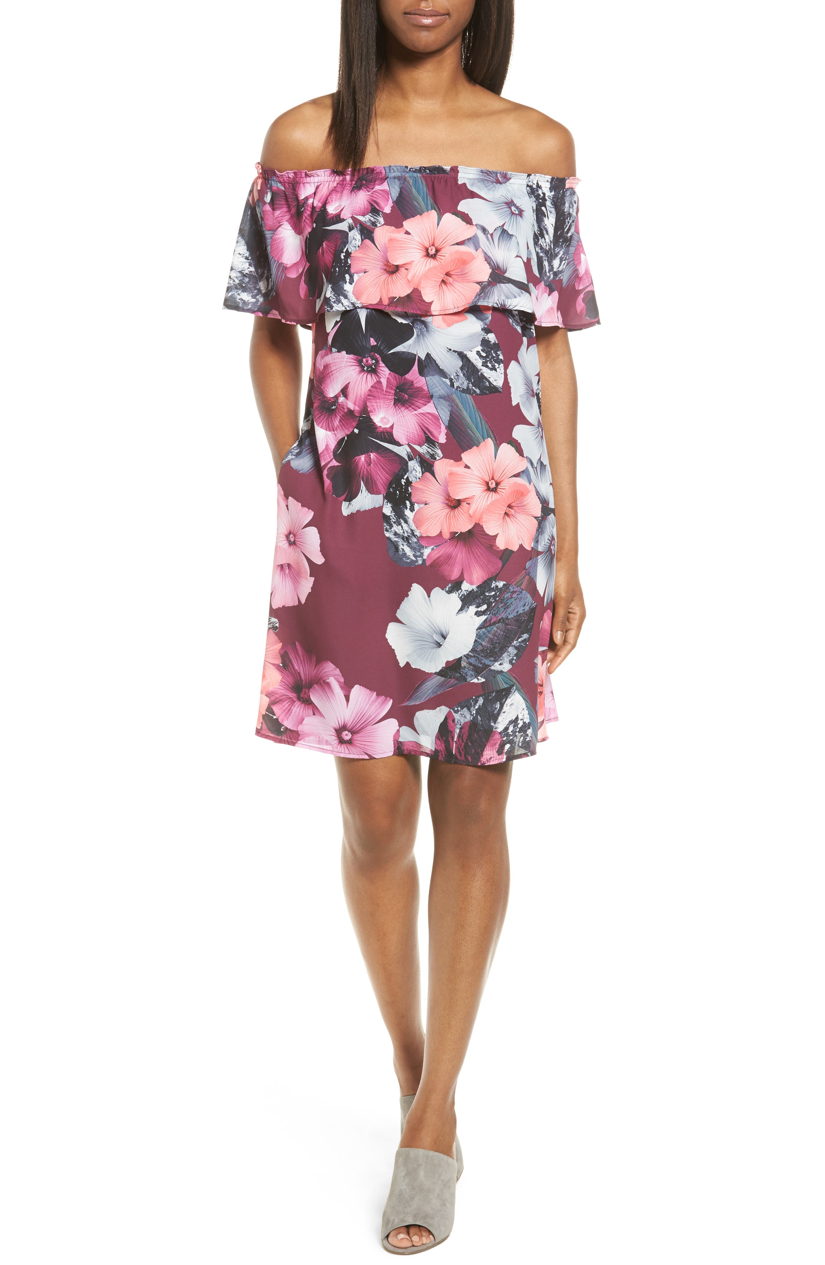 CeCe Floral Off the Shoulder Shift Dress