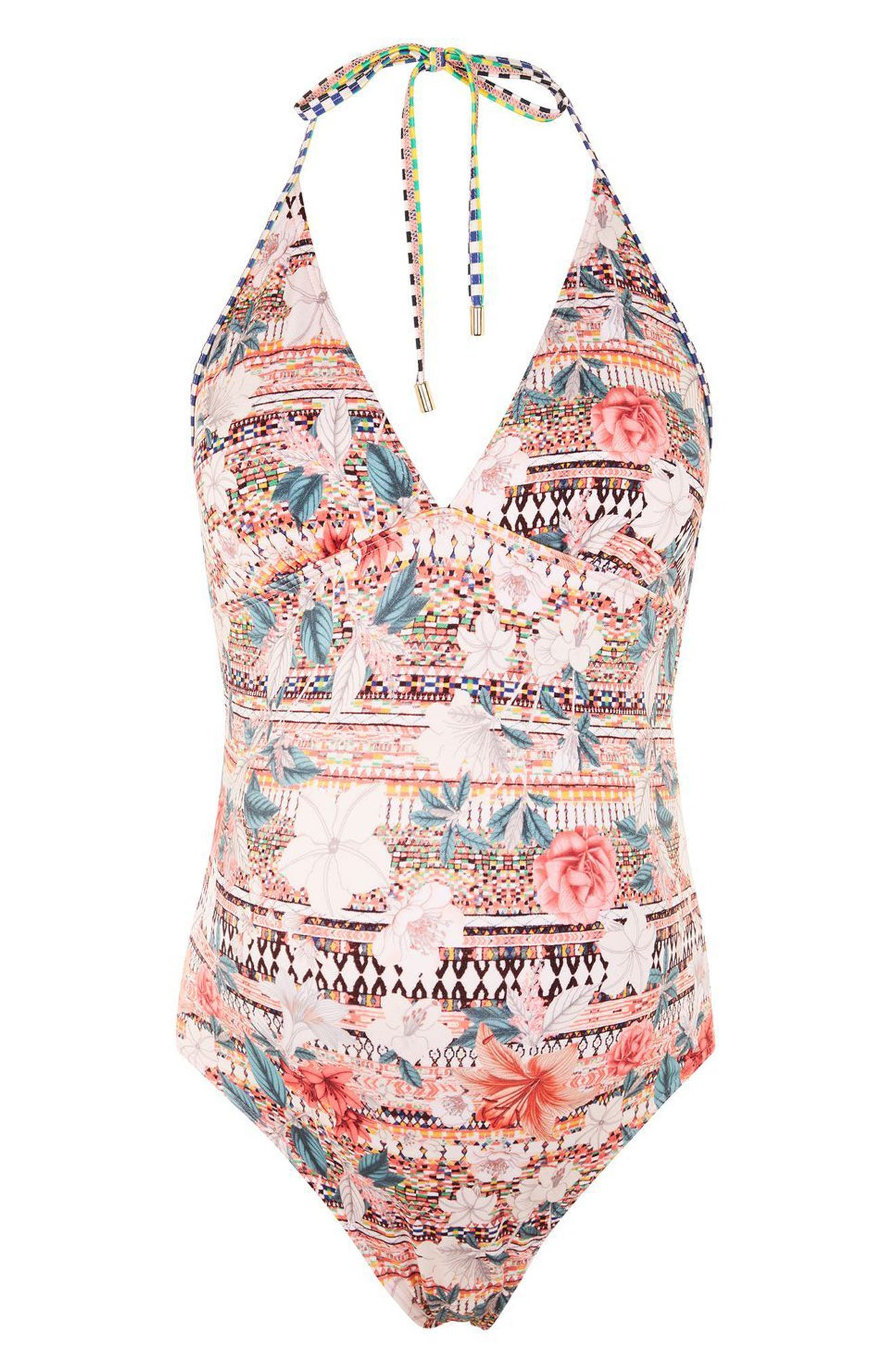Topshop Geo Floral Maternity One-Piece Swimsuit