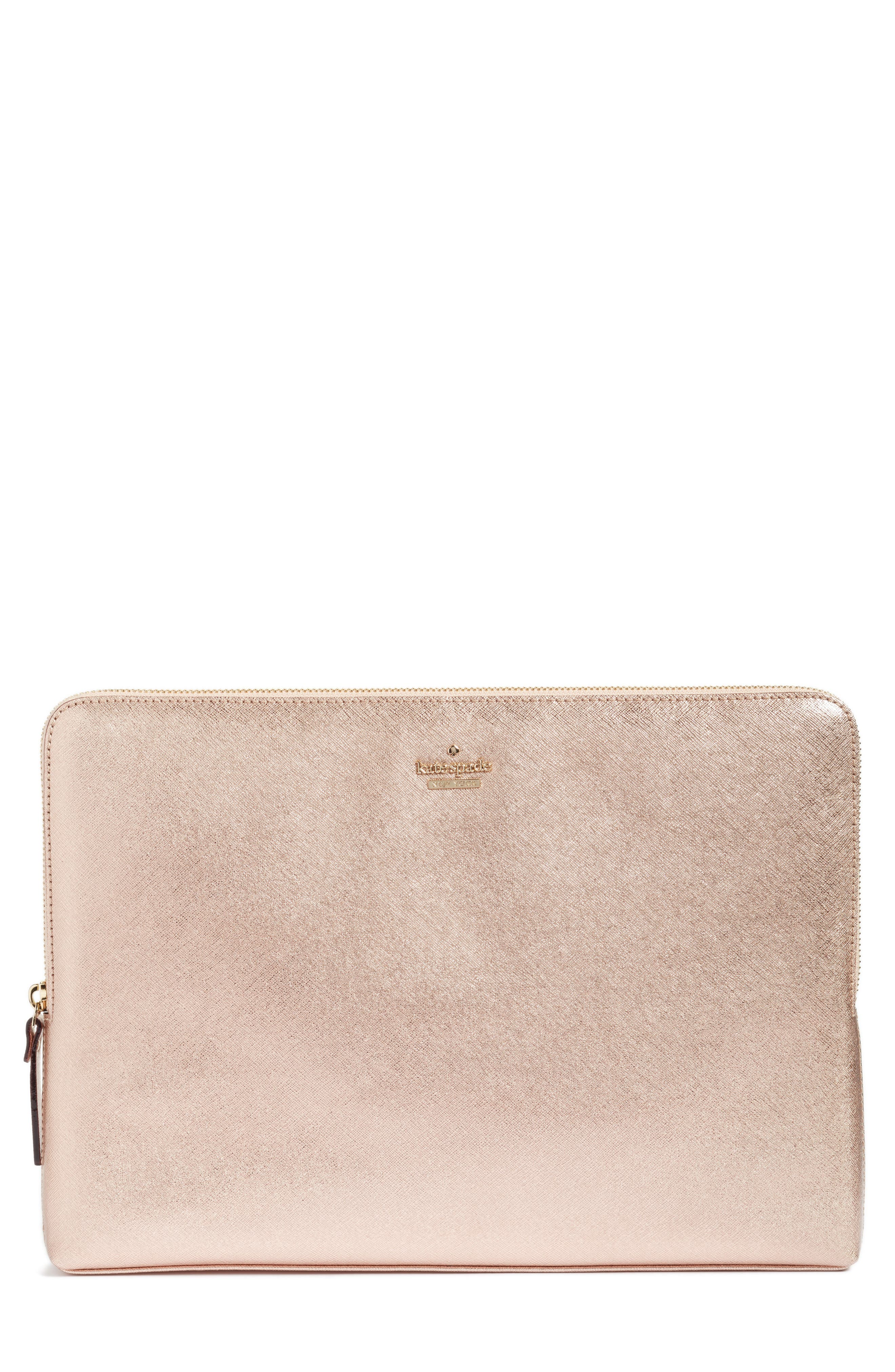 "kate spade new york metallic 13"" leather laptop sleeve"