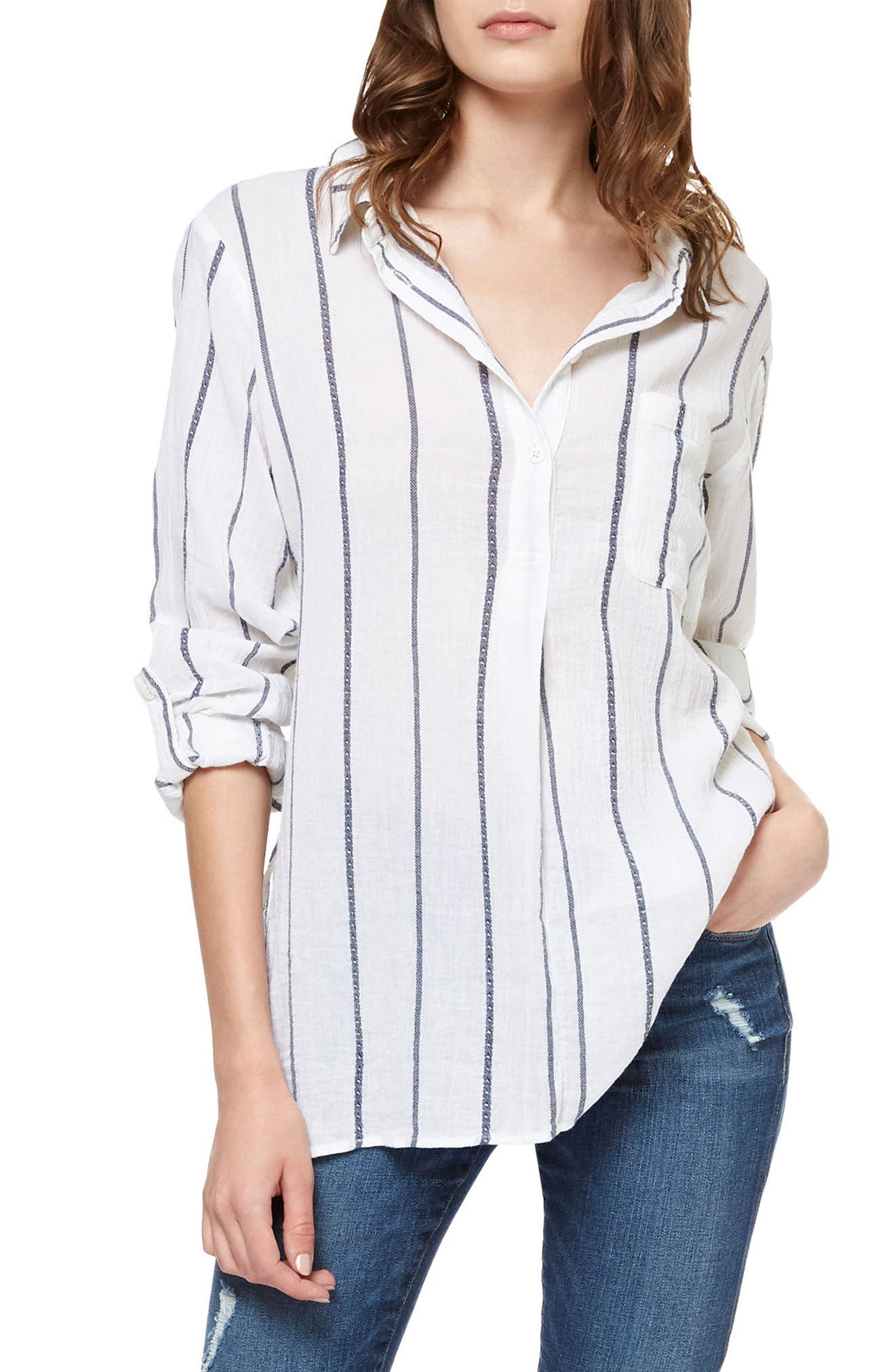 Sanctuary Miles Stripe Roll Sleeve Tunic