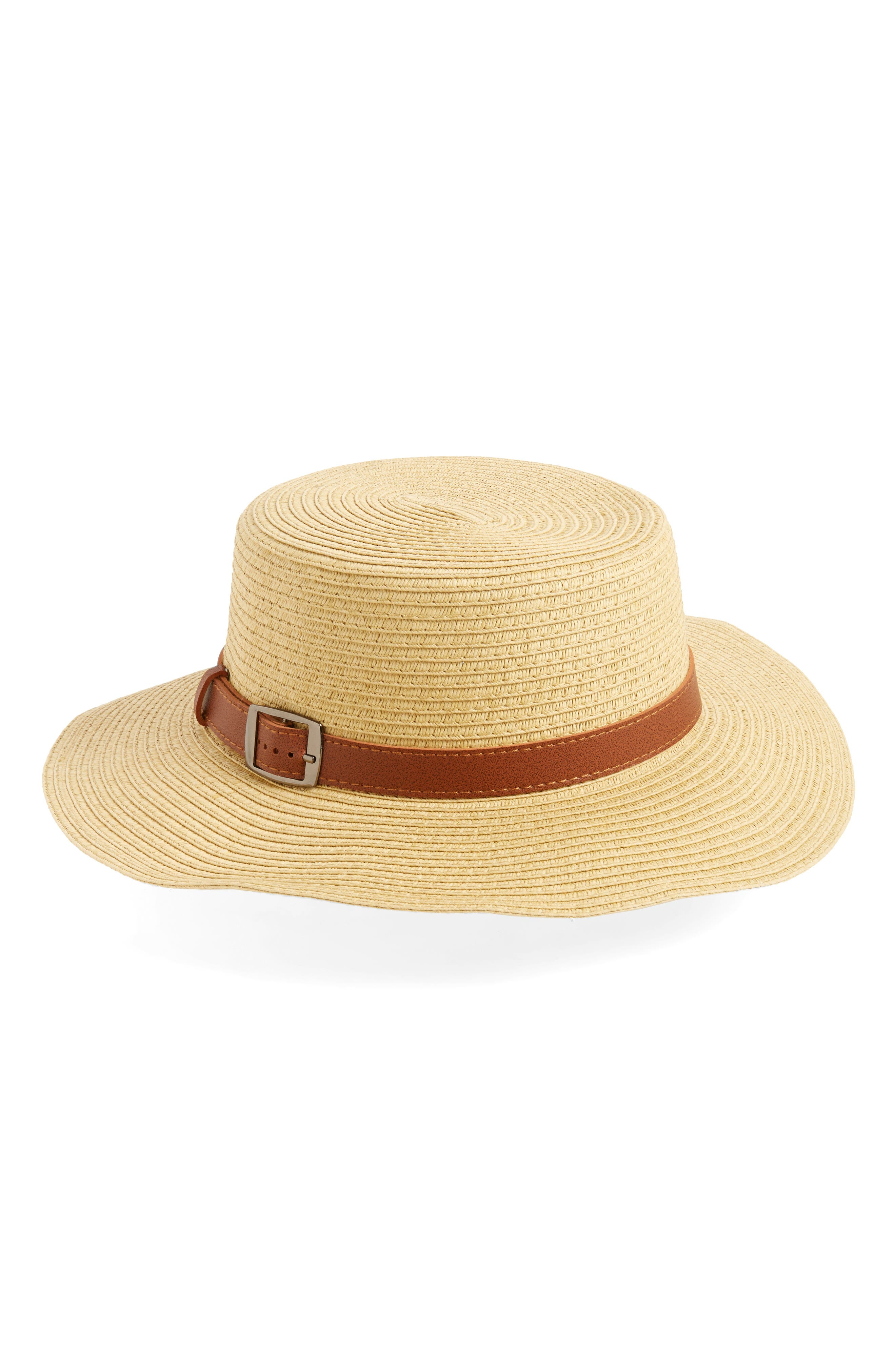 David & Young Buckle Straw Boater Hat