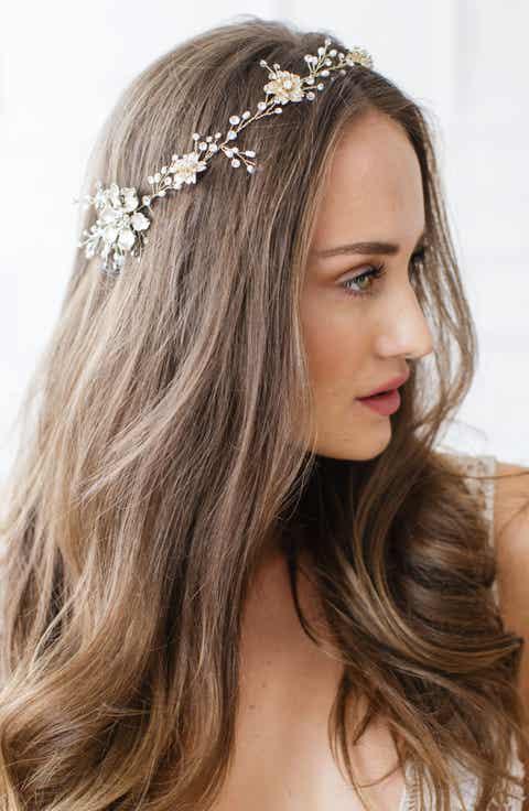 Brides   Hairpins Atiena Embellished Floral Motif Halo   Sash