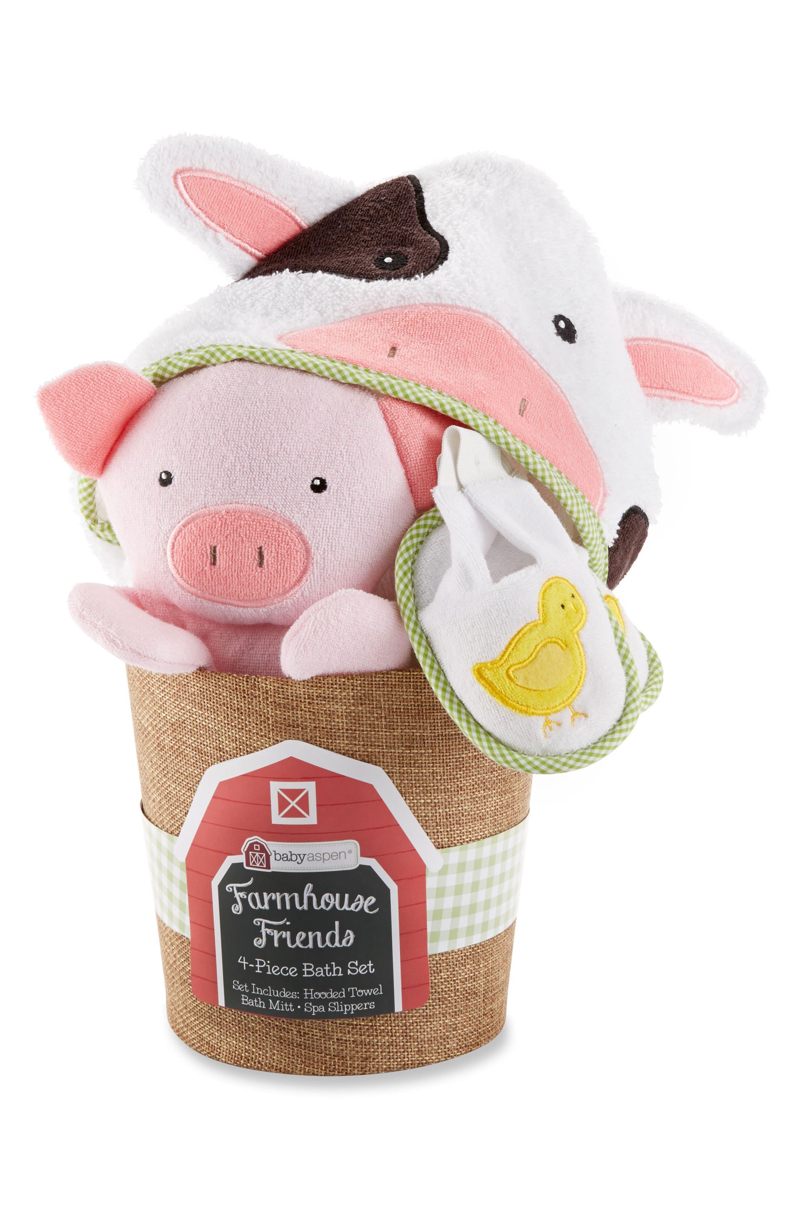 Baby Aspen Farmhouse Friends Hooded Robe, Slippers & Bath Mitt Set (Baby)
