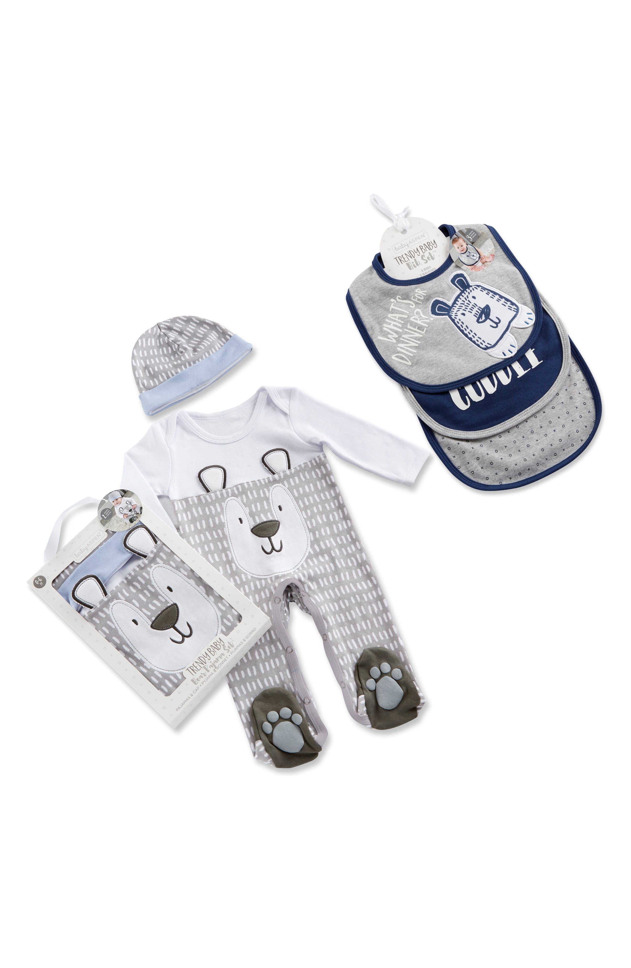 Baby Aspen Trendy Baby Footie, Cap & Bib Set