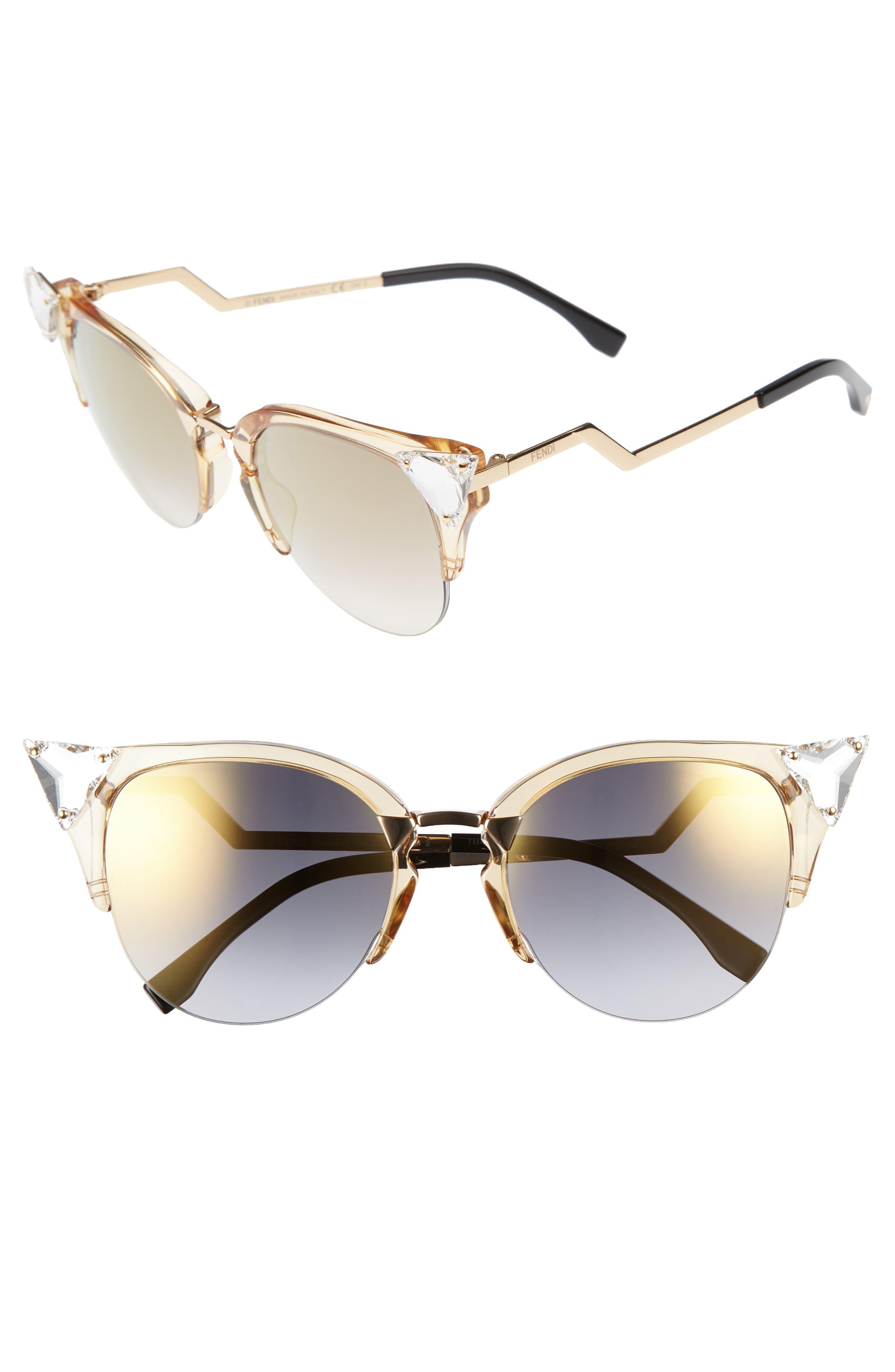 Fendi 52mm Crystal Tip Cat Eye Sunglasses