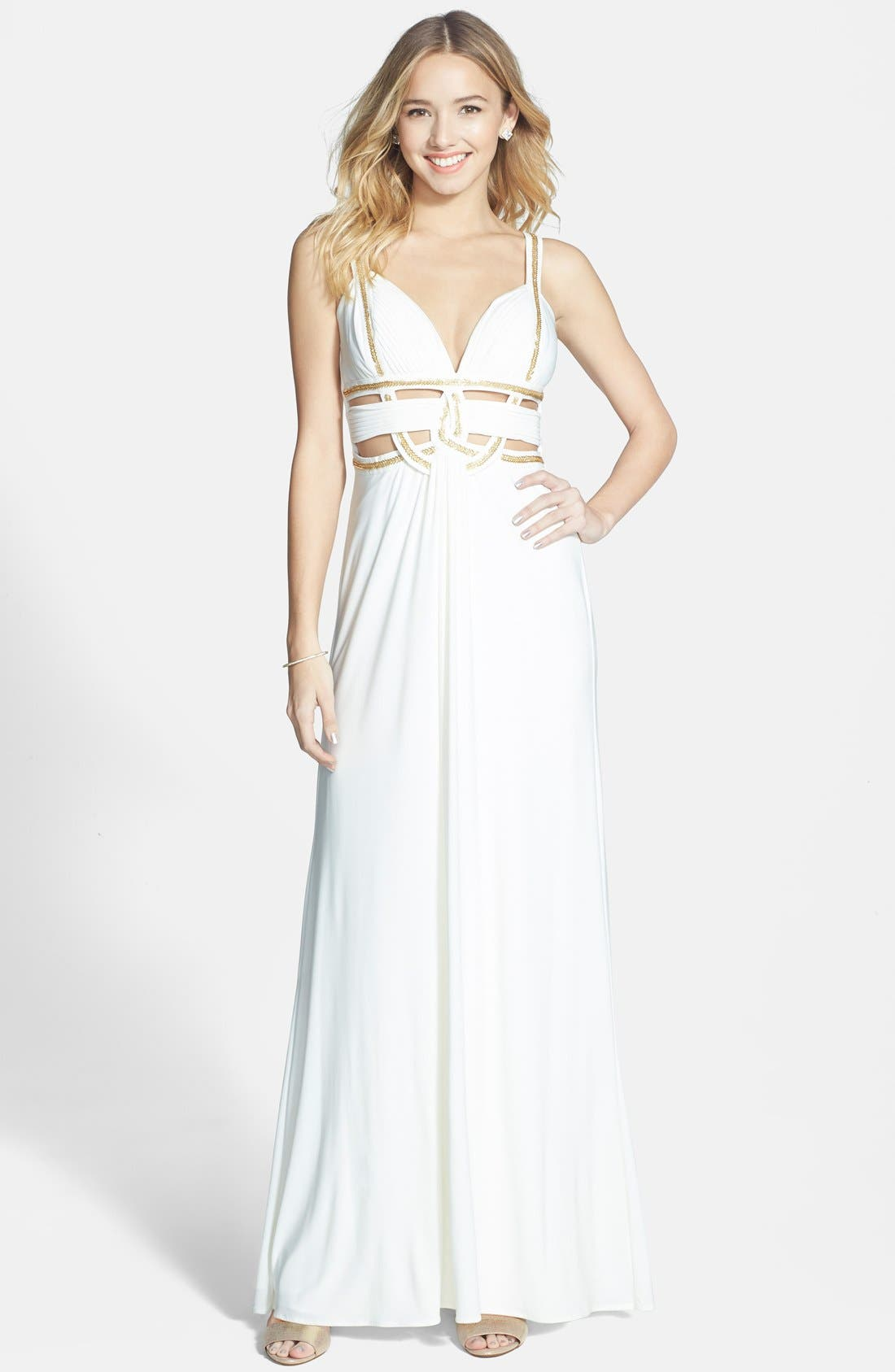 Main Image - Betsy & Adam Beaded Cutout Jersey Gown