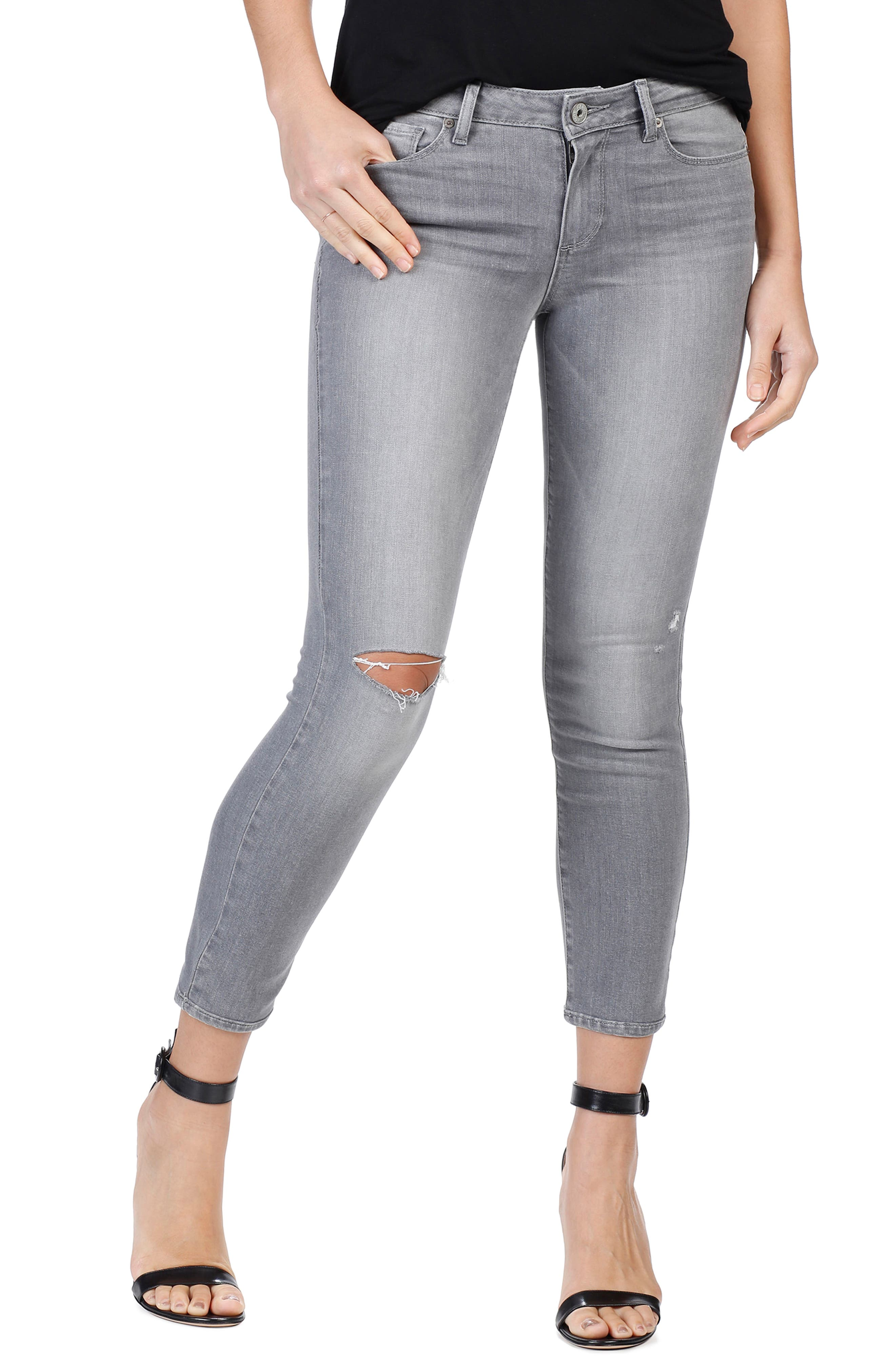 PAIGE Transcend - Verdugo Ripped Crop Skinny Jeans (Stone Grey Destructed)