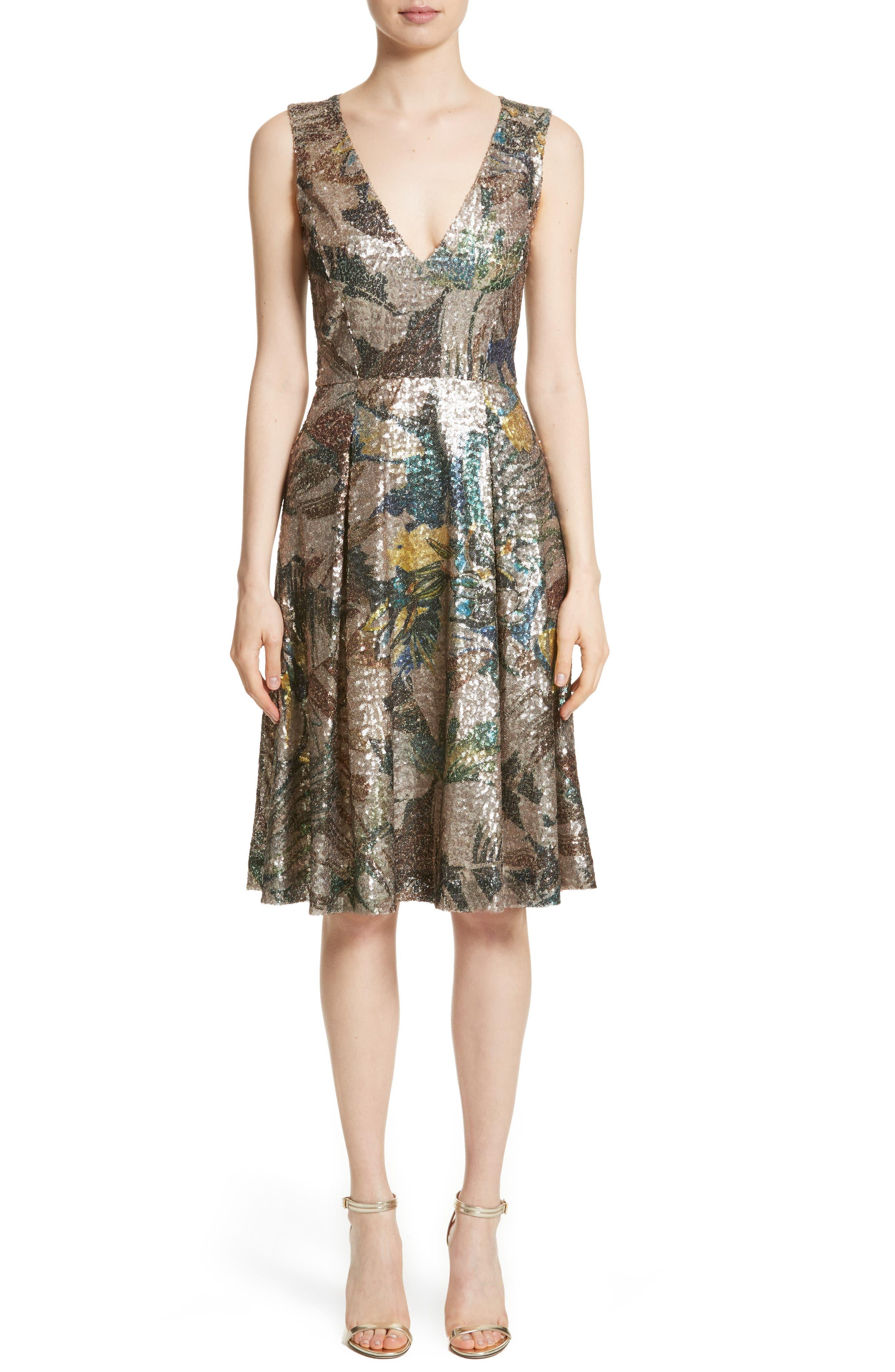 Carolina Herrera Sequin Fit & Flare Dress
