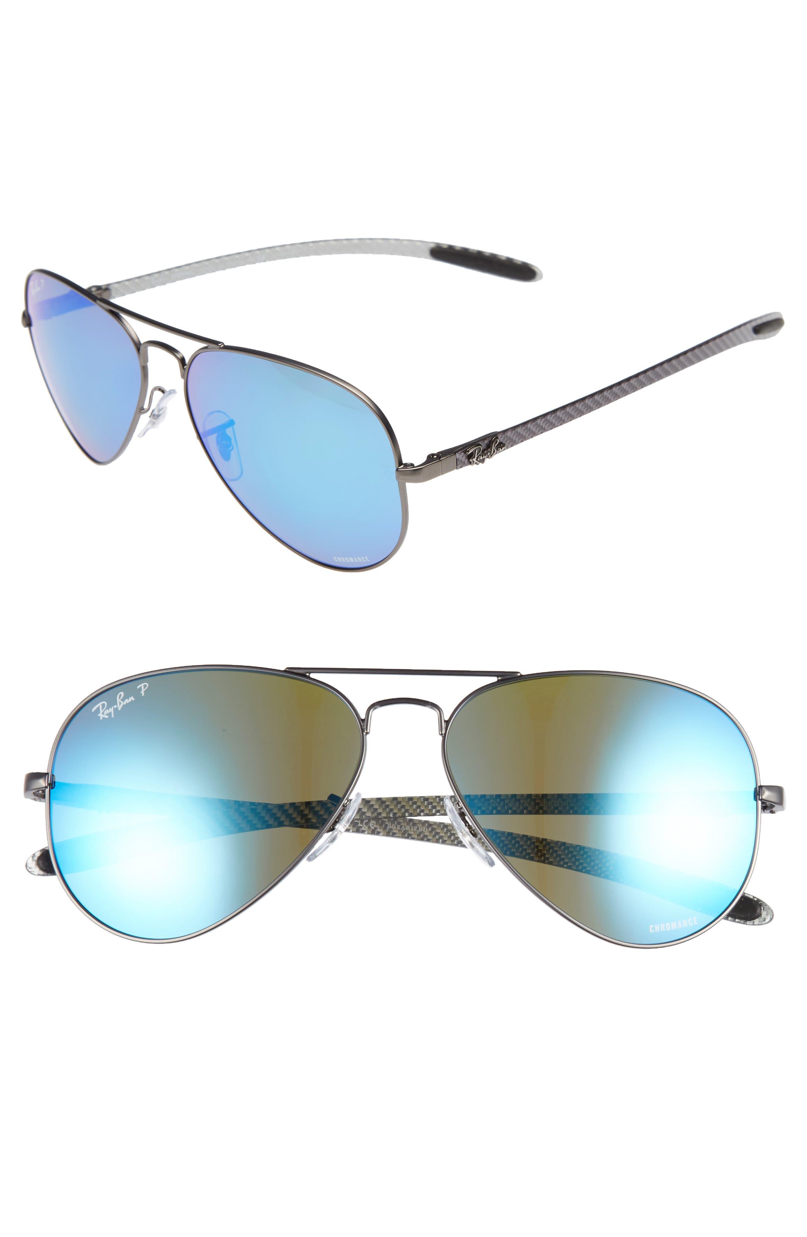 Ray-Ban Chromance 58mm Polarized Aviator Sunglasses