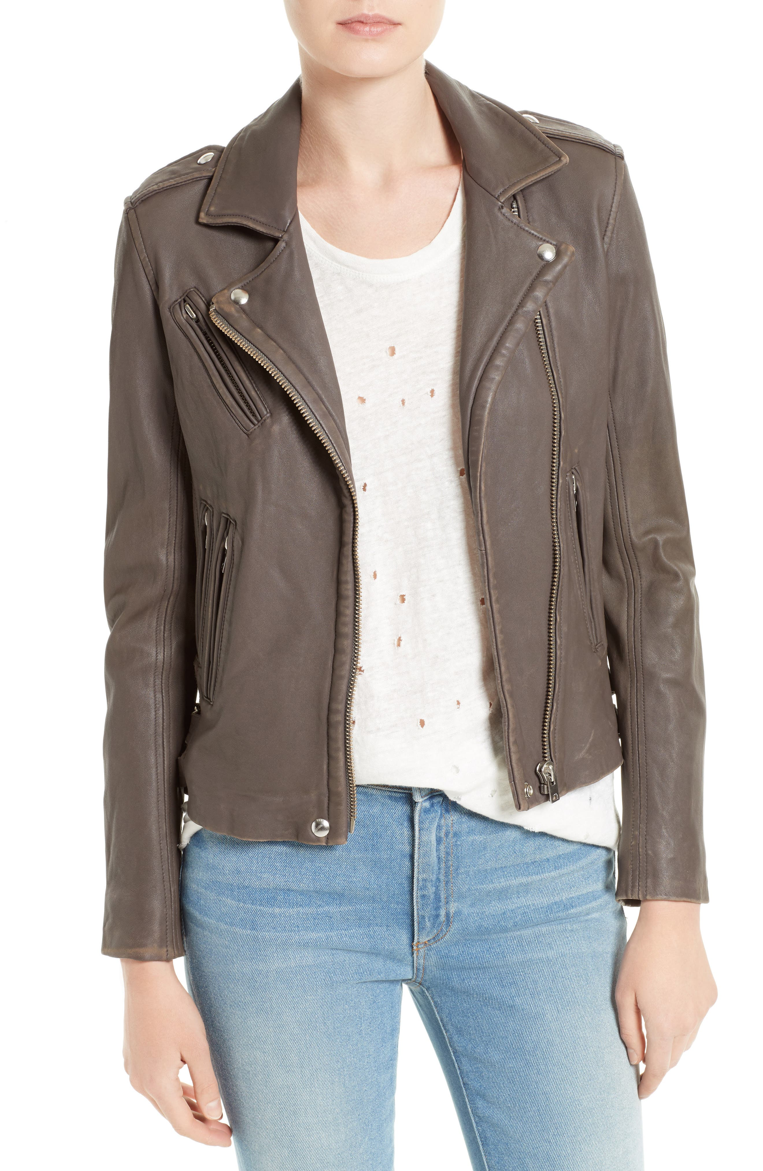 IRO 'Han' Lambskin Leather Moto Jacket