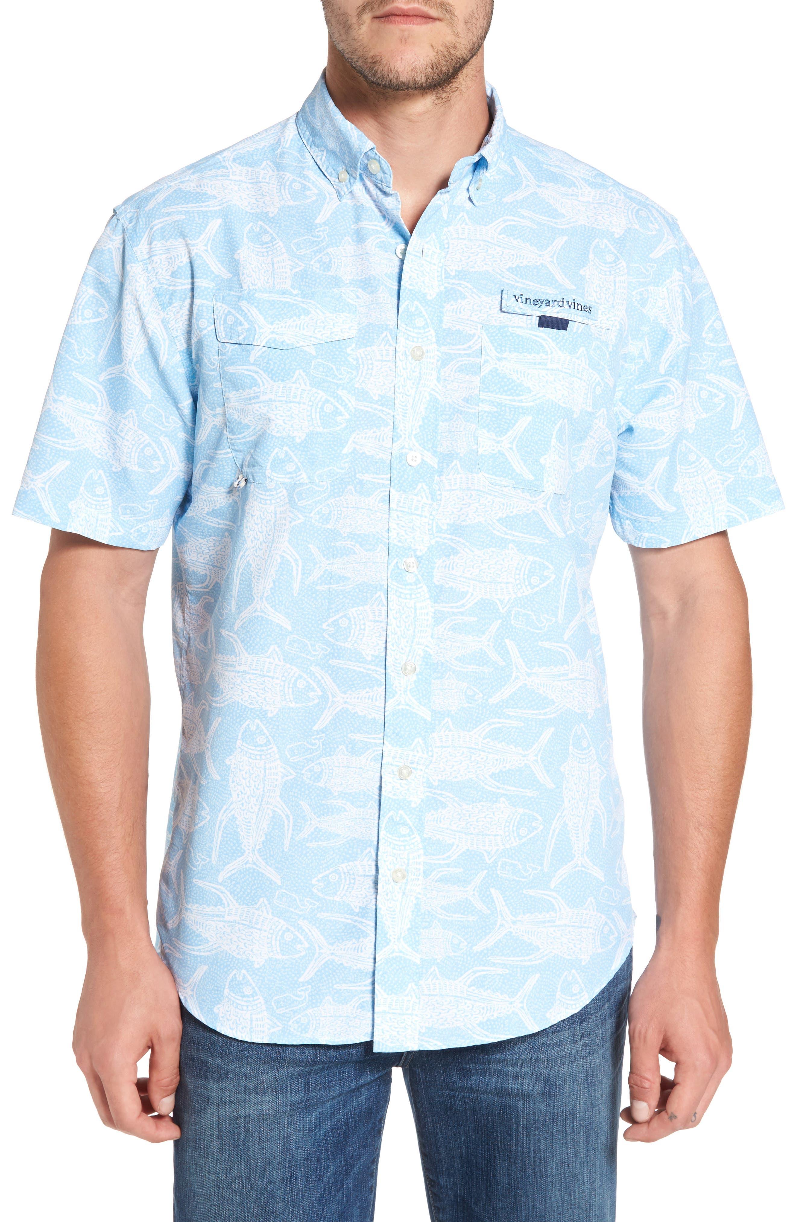 Alternate Image 1 Selected - Vineyard Vines Tuna Batic Harbor Short Sleeve Sport Shirt