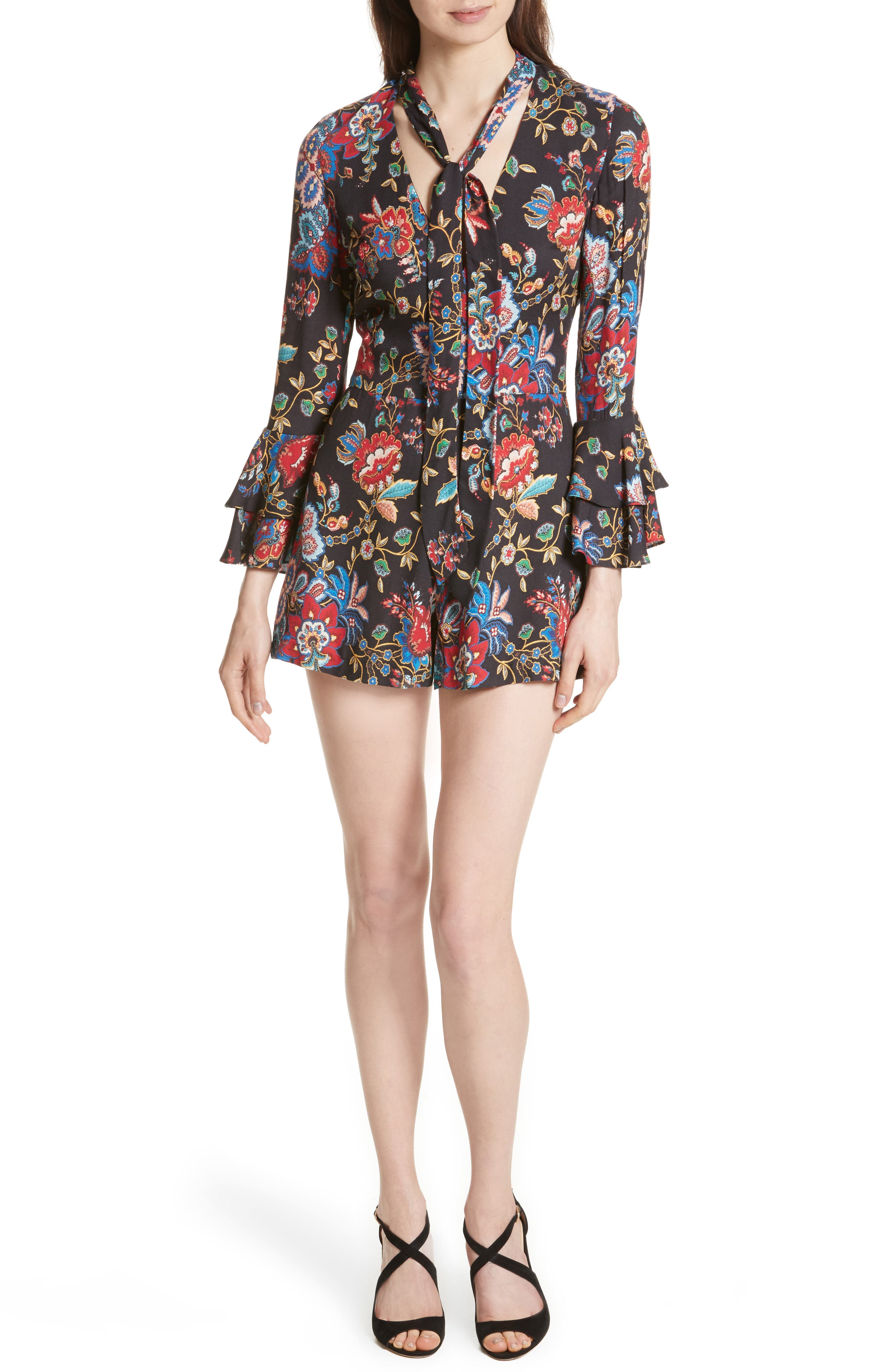 Alice + Olivia Macall Bell Sleeve Romper