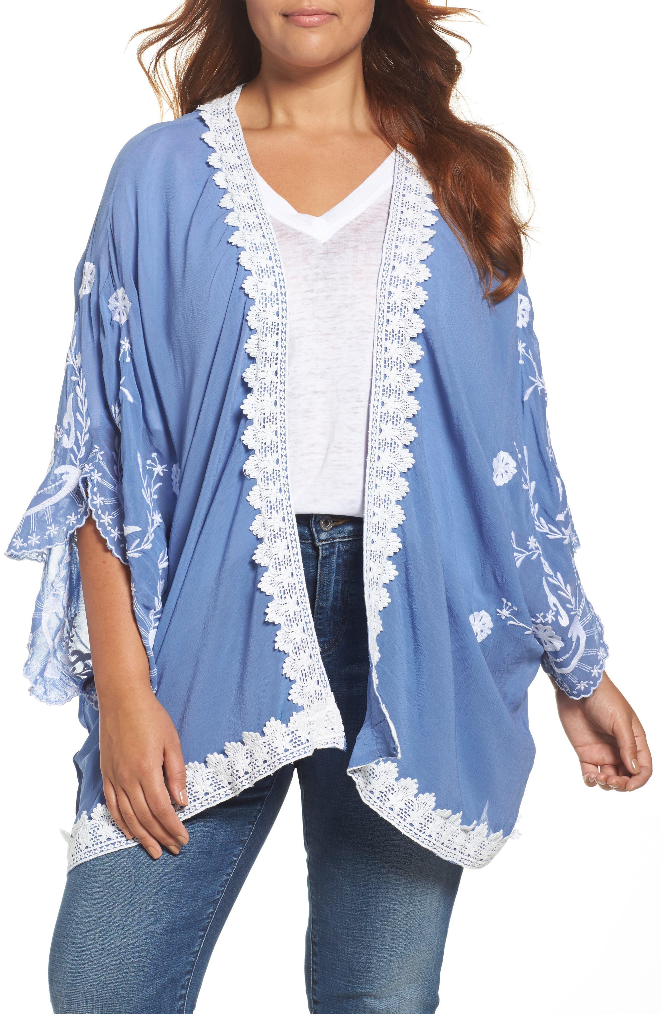 Glamorous Embroidered Kimono (Plus Size)