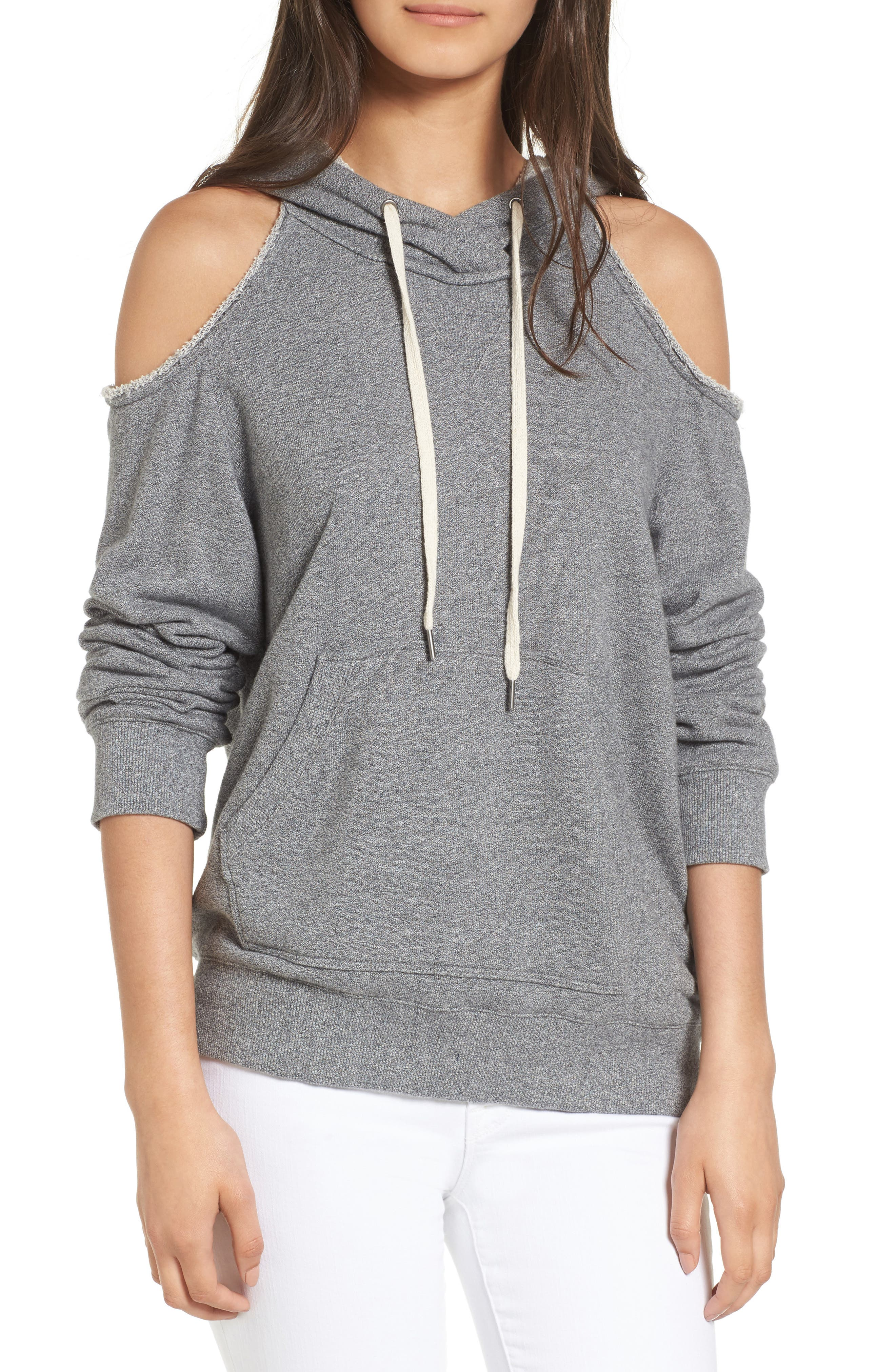 Splendid Cold Shoulder Hooded Sweatshirt