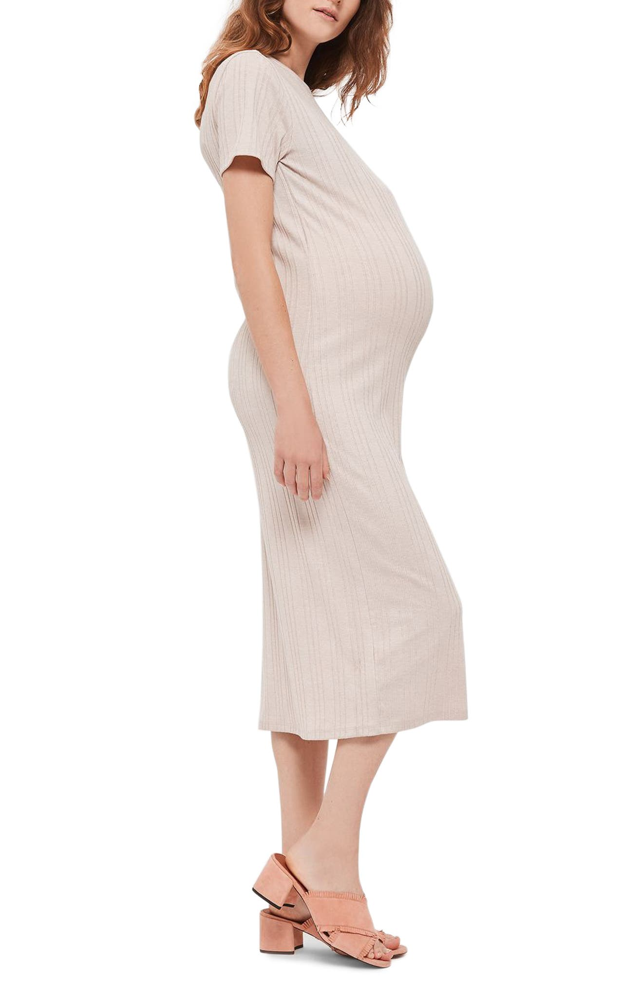 Topshop Ribbed Split Maternity Midi Dress