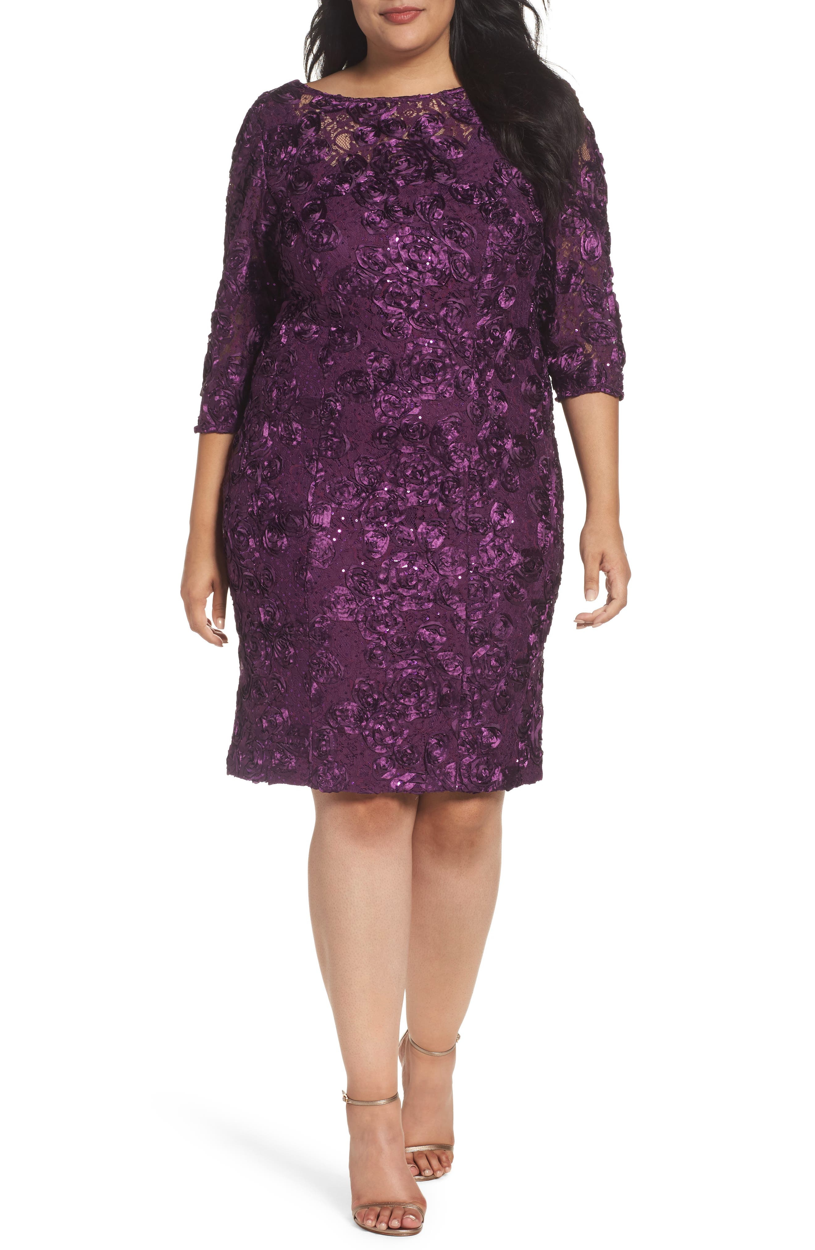 Alex Evenings Rosette Lace Sheath Dress (Plus Size)