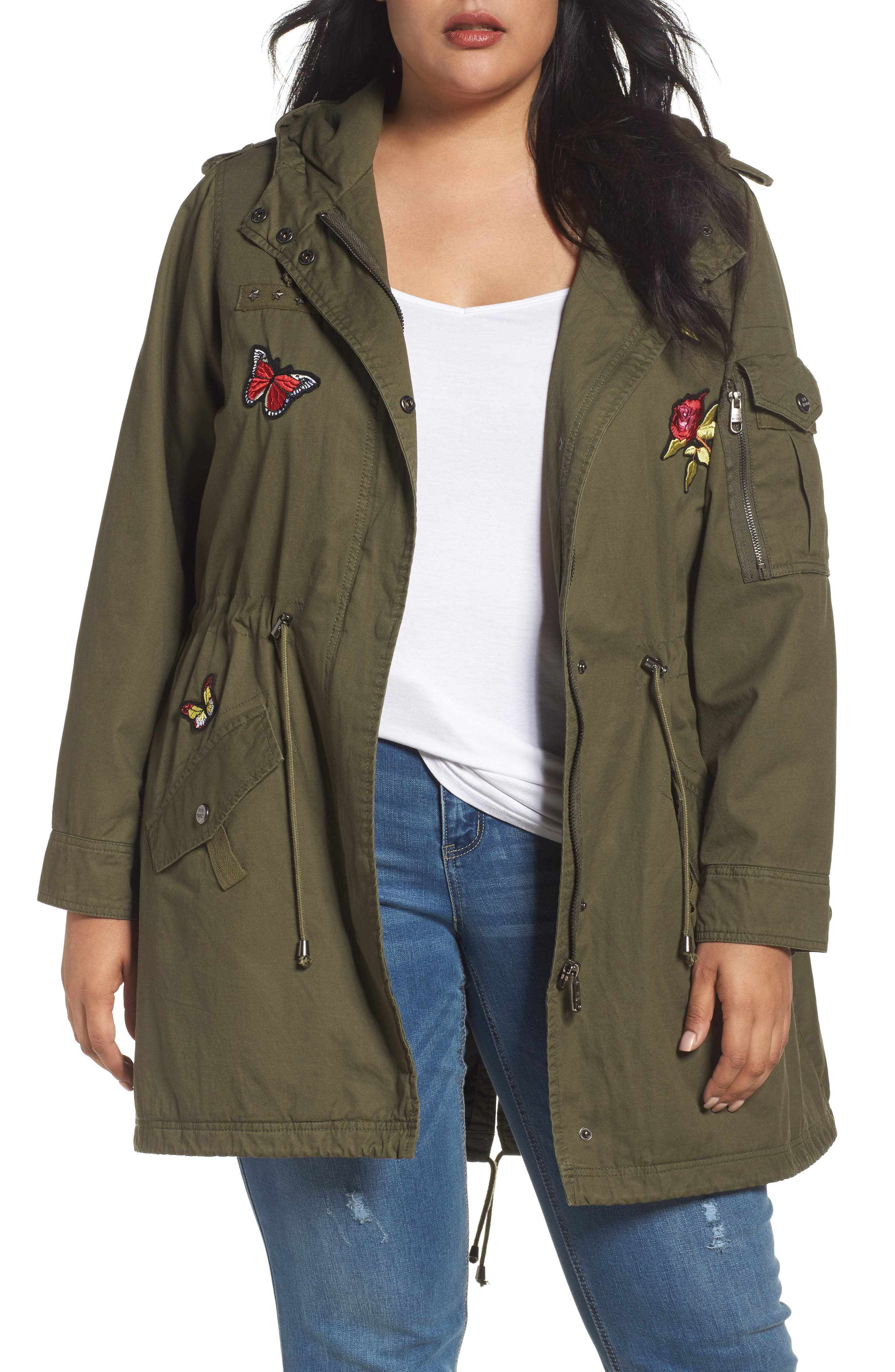 Steve Madden Patch Cotton Anorak (Plus Size)