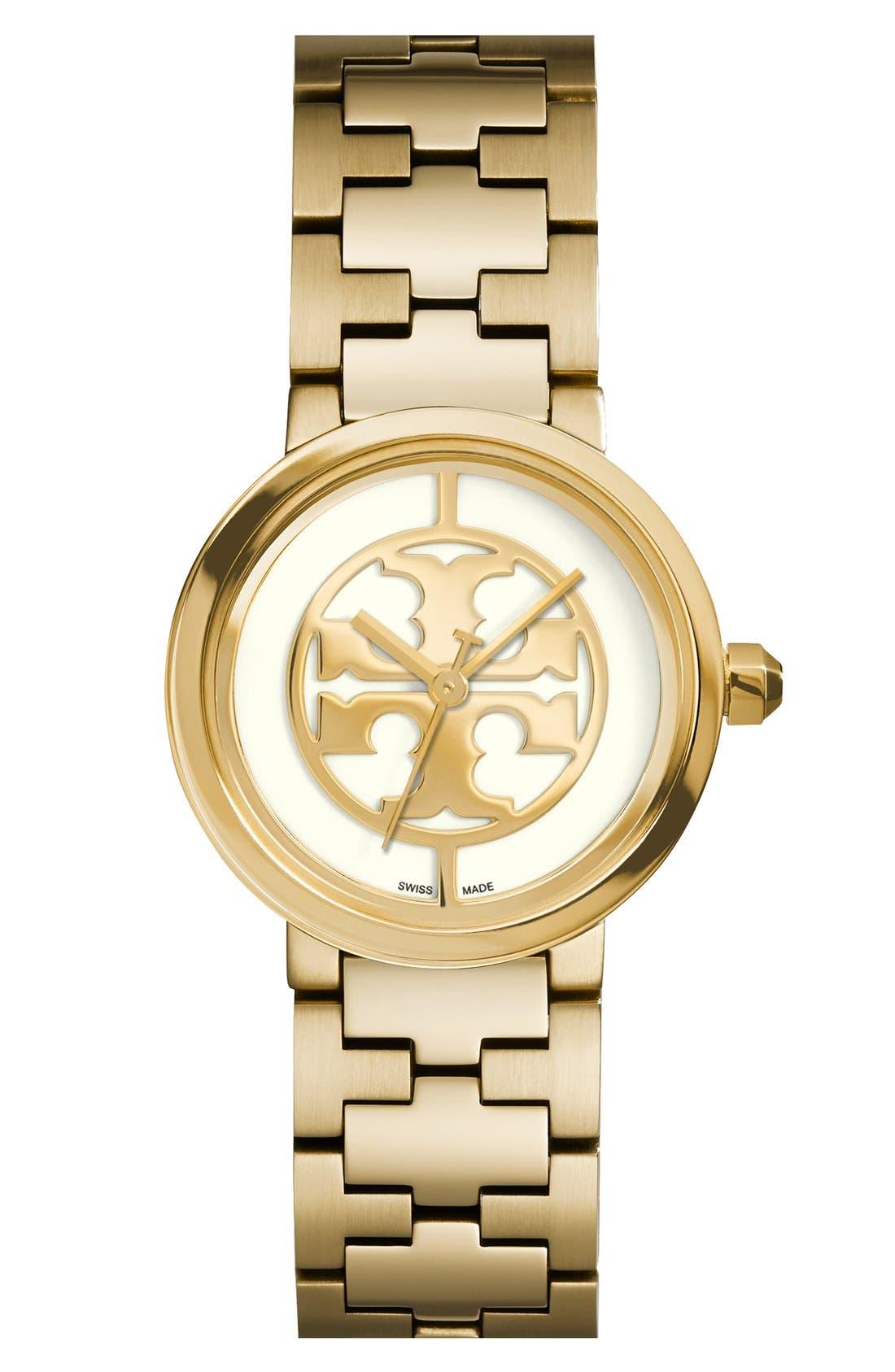 Main Image - Tory Burch 'Reva' Logo Dial Bracelet Watch, 28mm
