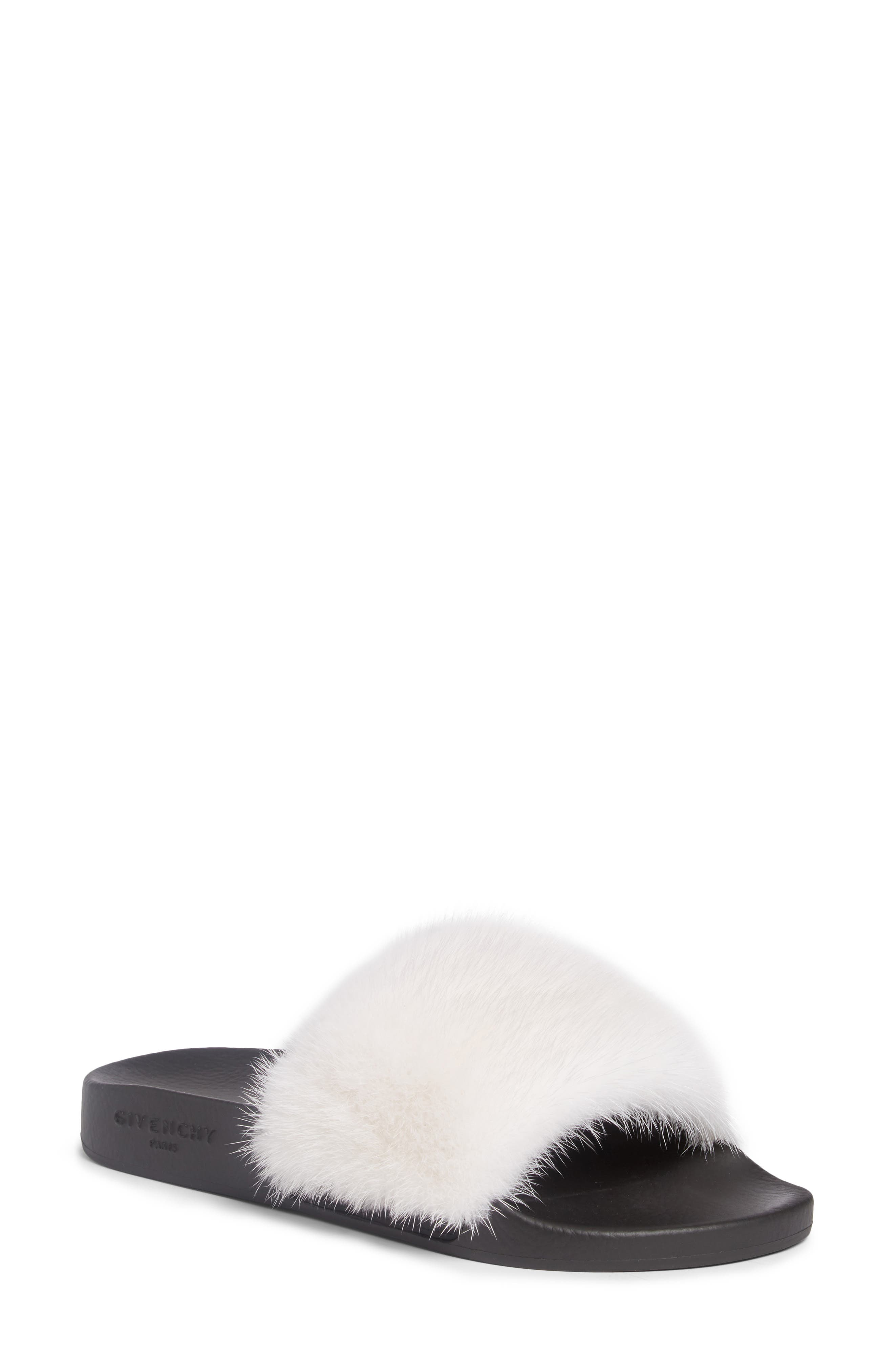 Givenchy Genuine Mink Fur Slide Sandal (Women)