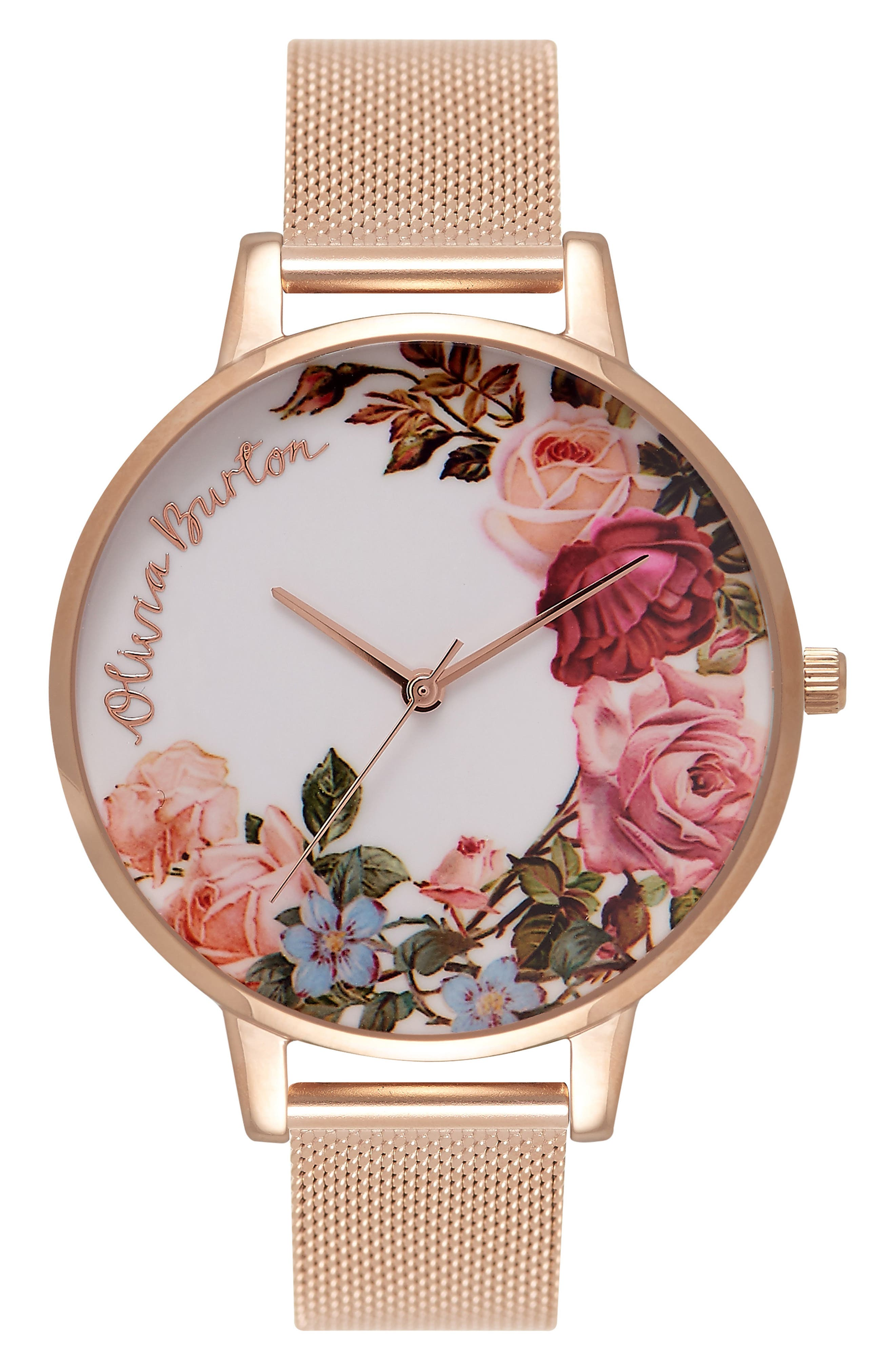Olivia Burton English Garden Mesh Strap Watch, 38mm