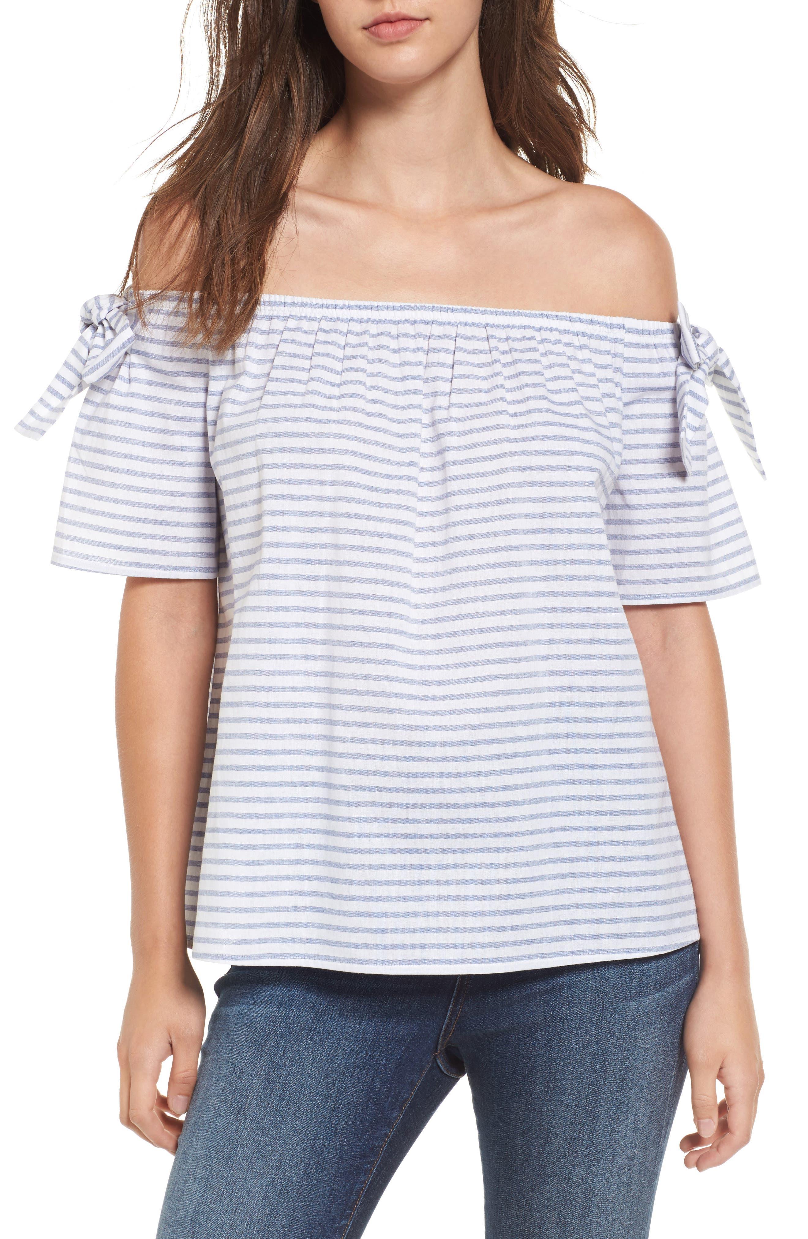 Soprano Stripe Cotton & Linen Off the Shoulder Top