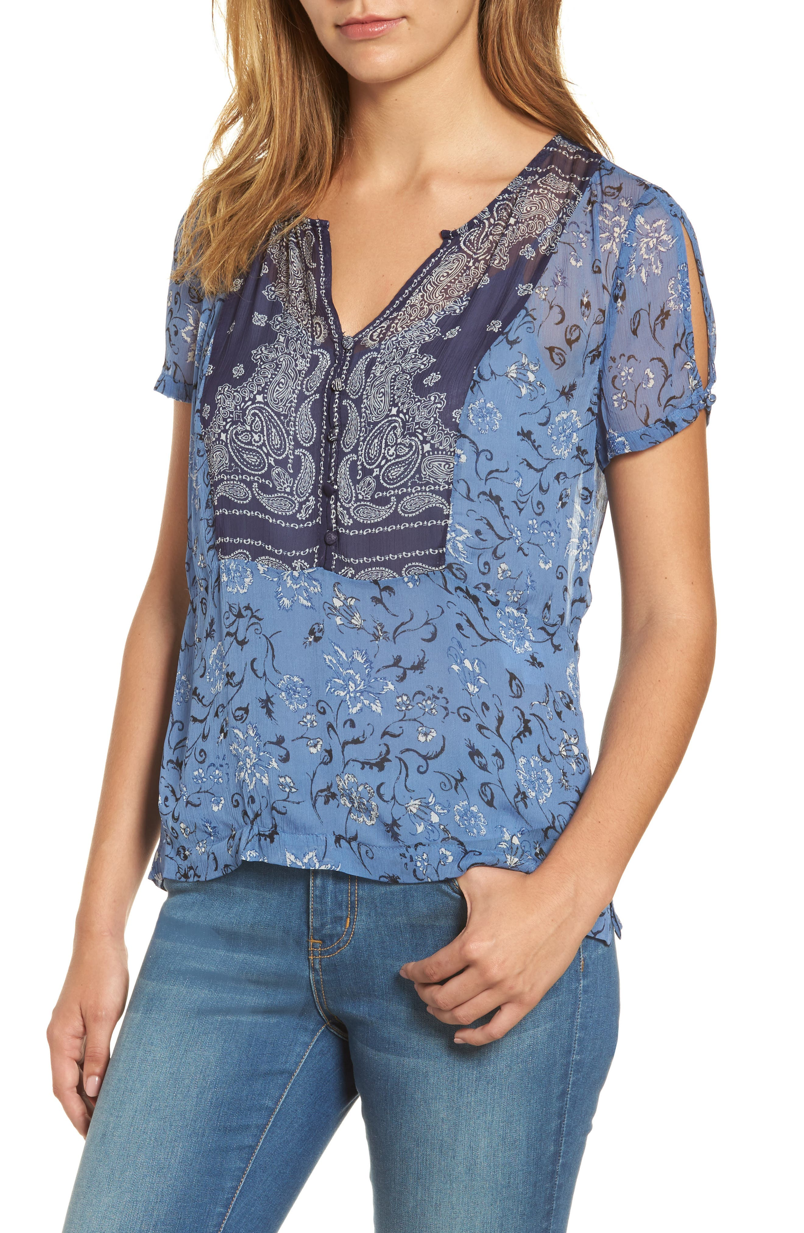 Lucly Brand Mixed Scarf Print Top