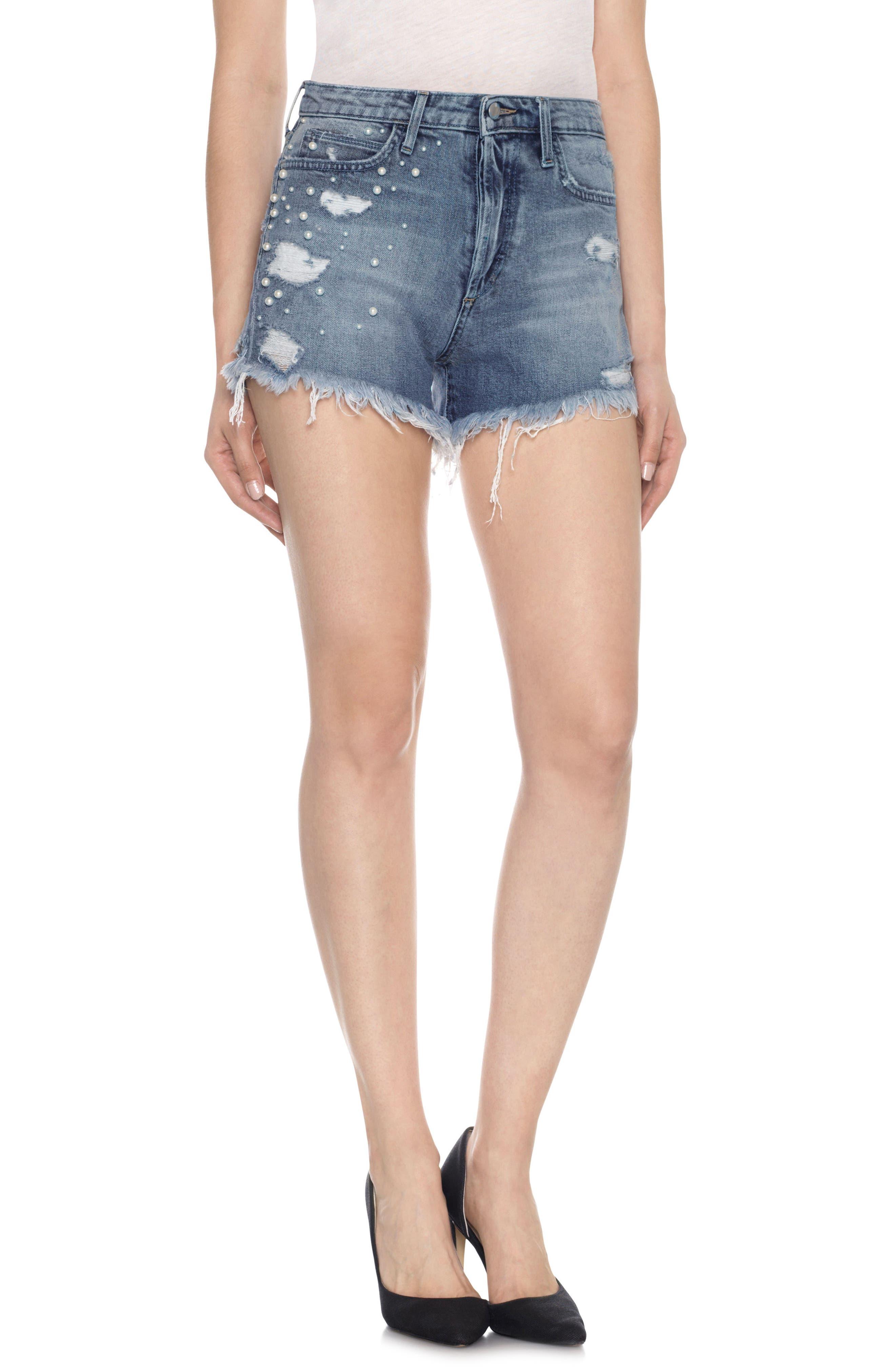 Taylor Hill x Joe's Charlie Embellished Denim Shorts (Nolita)
