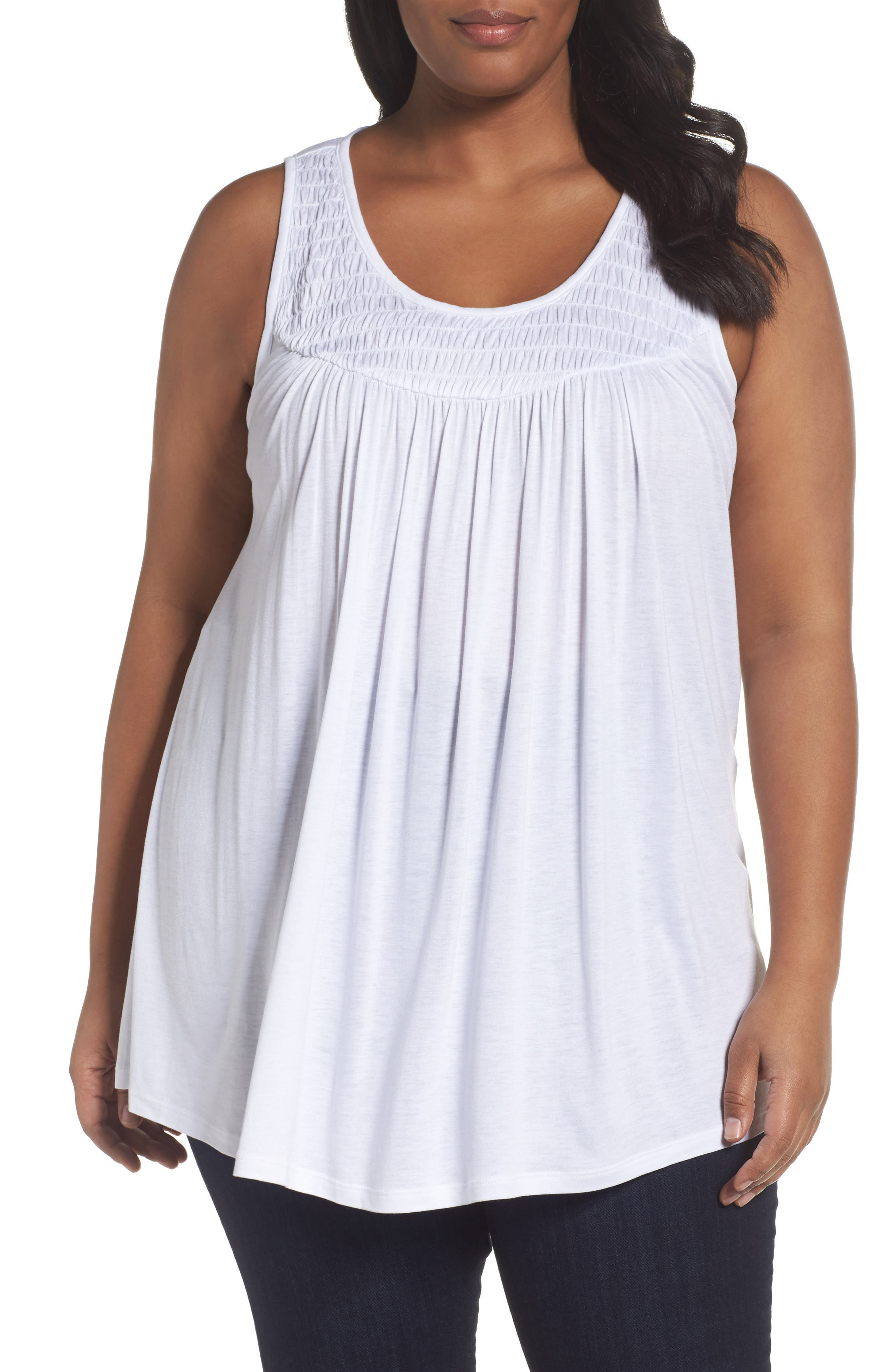 Sejour Smocked Tank (Plus Size)