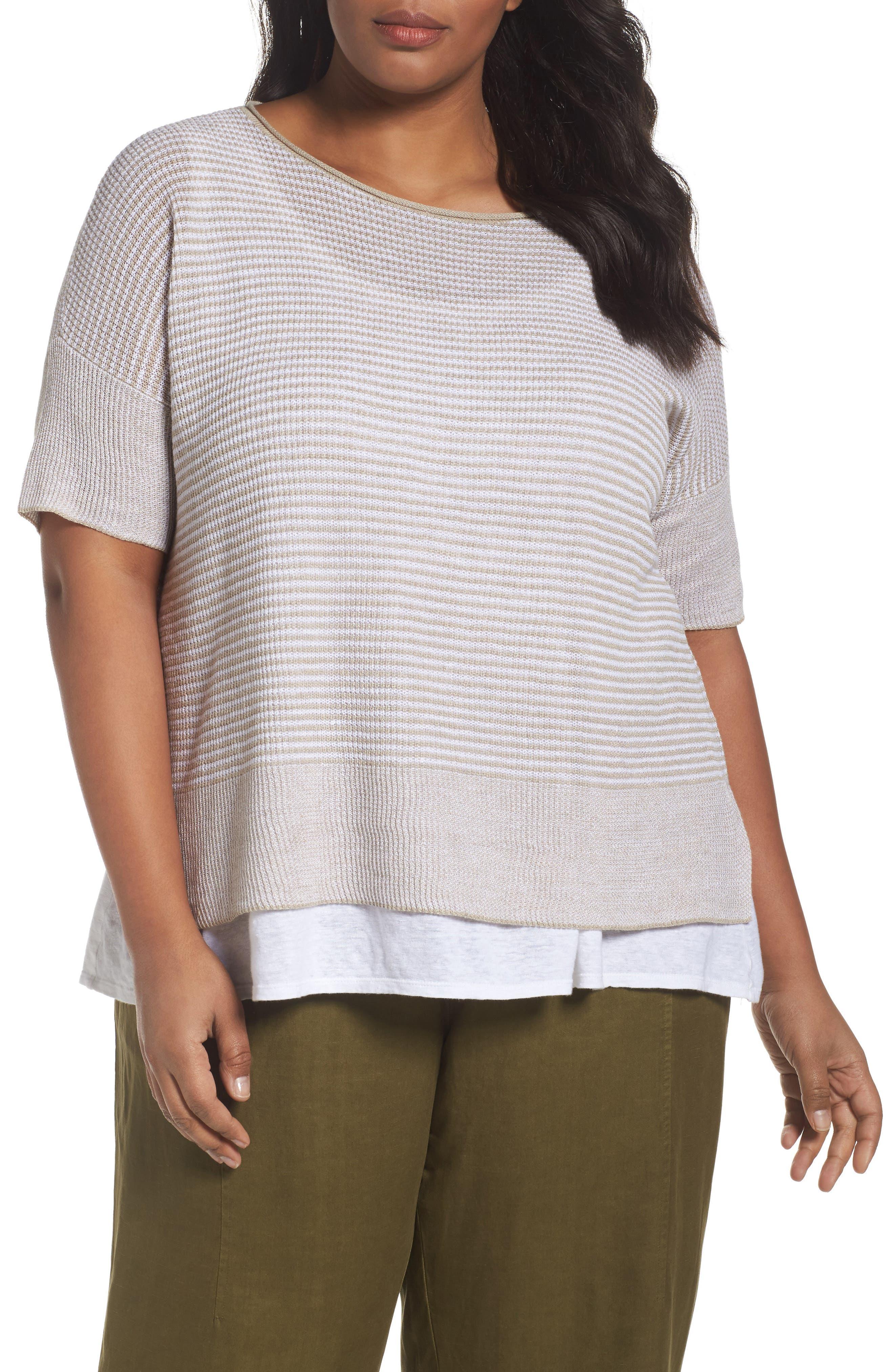 Eileen Fisher Organic Linen Stripe Sweater (Plus Size)