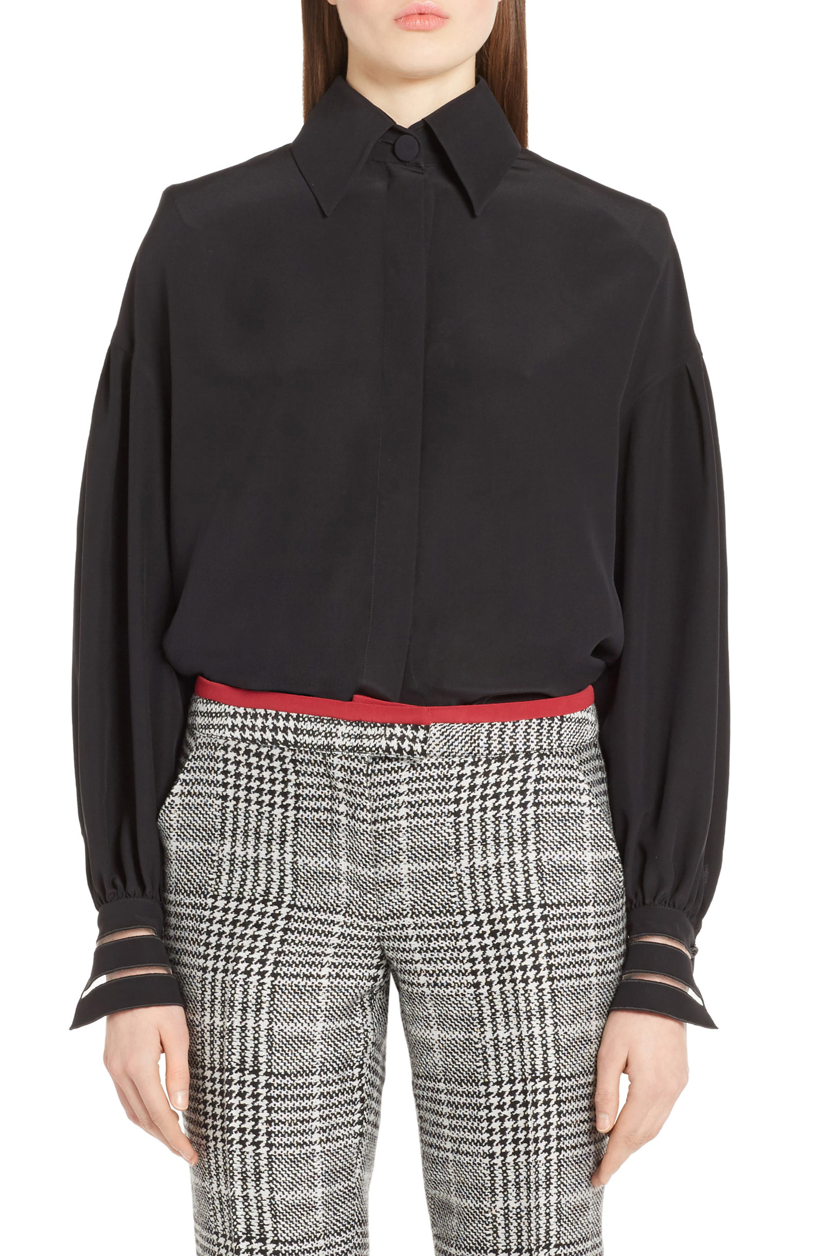 Fendi Bishop Sleeve Silk Blouse