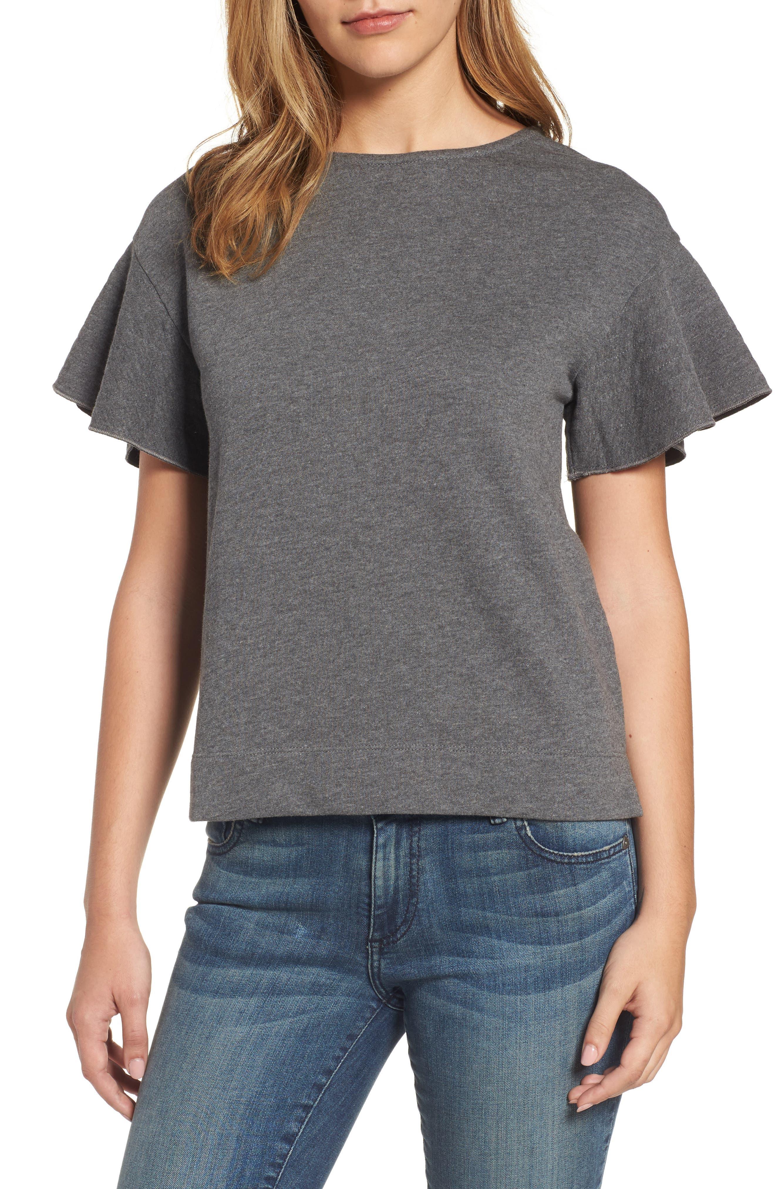Halogen® Flounce Sleeve Sweatshirt (Regular & Petite)