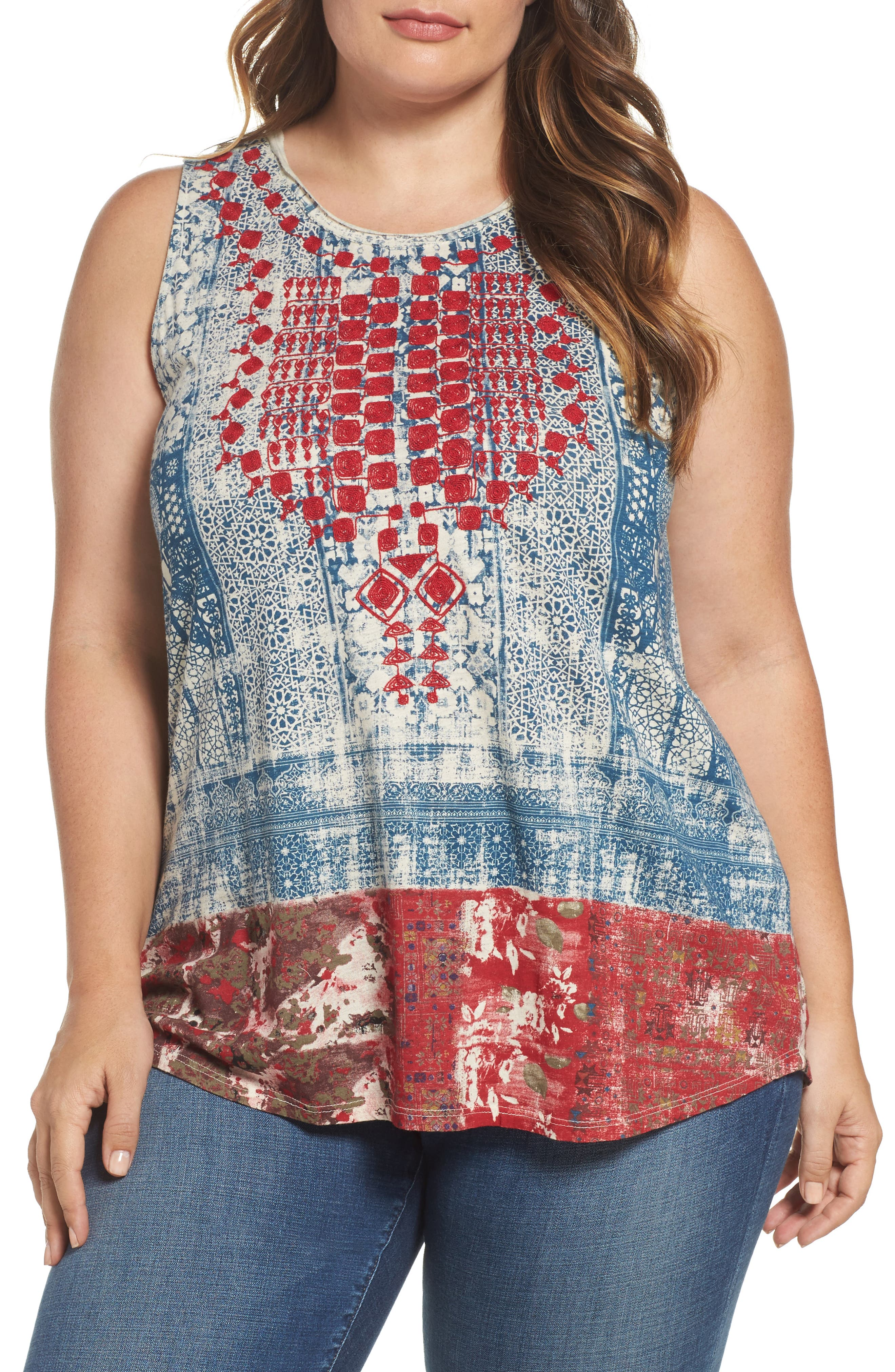 Lucky Brand Embroidered Bib Tank (Plus Size)