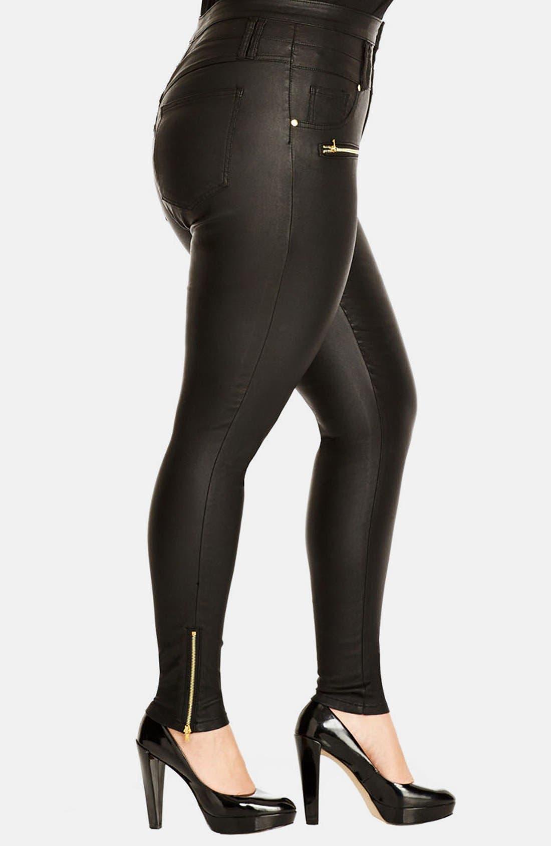 Alternate Image 3  - City Chic 'Pick Me Up' Stretch Skinny Jeans (Black) (Plus Size)
