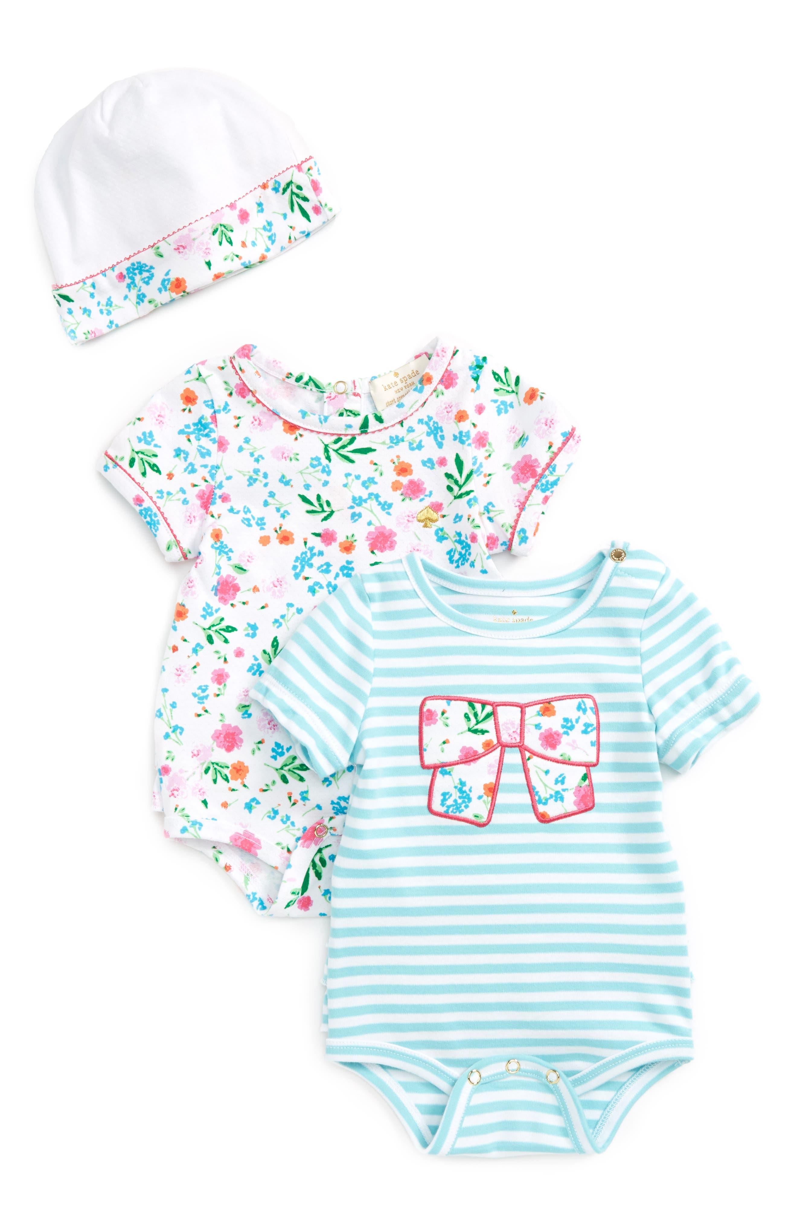 kate spade new york 2-pack bodysuits & cap set (Baby Girls)