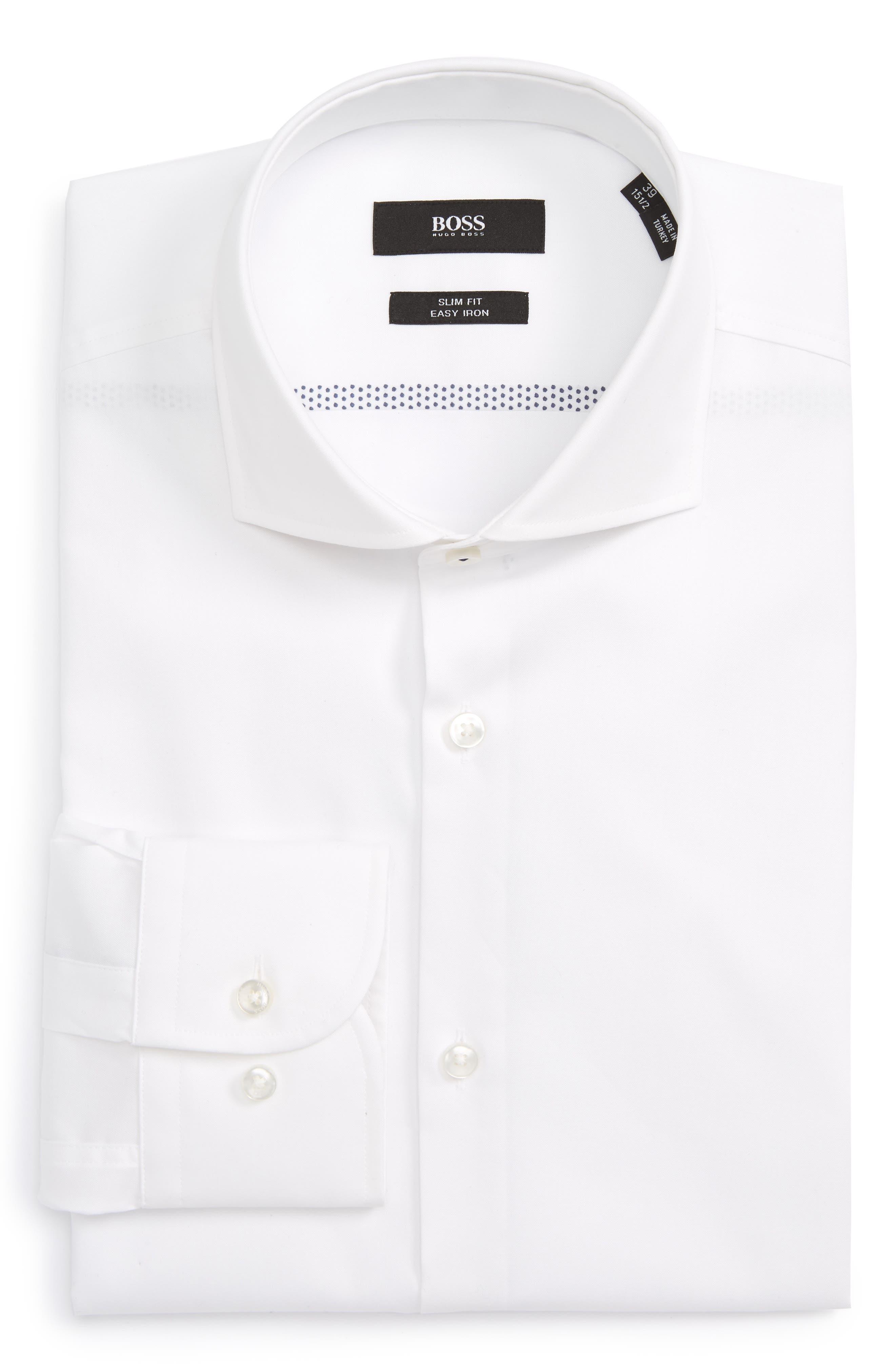 BOSS Slim Fit Solid Dress Shirt